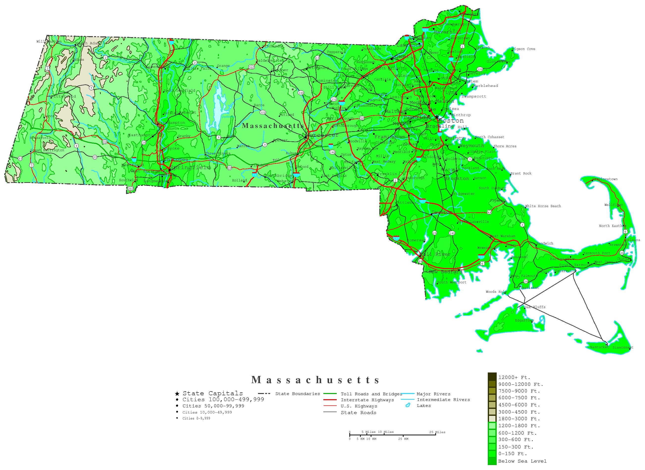 Massachusetts Contour Map - Massachusetts physical map