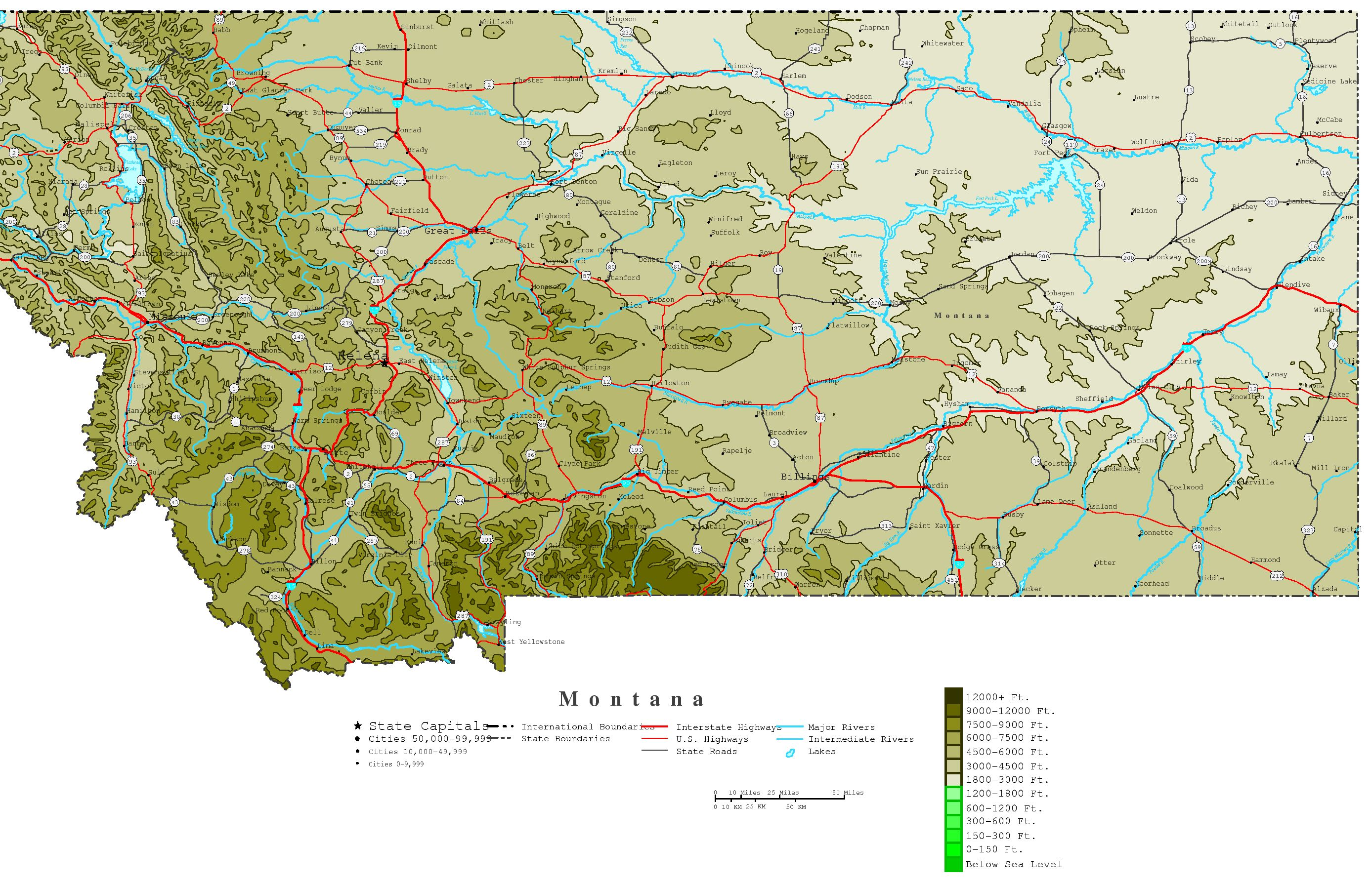 Montana Contour Map - Map of montana with cities