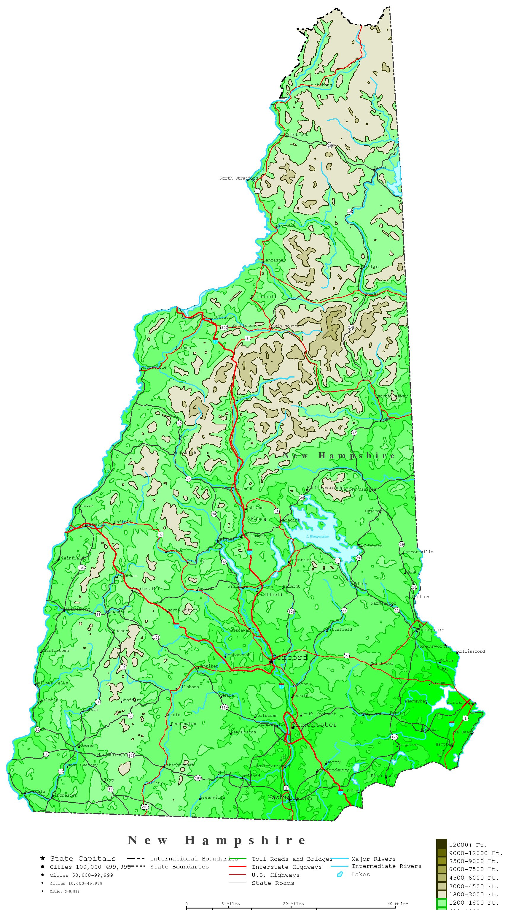 New Hampshire Contour Map