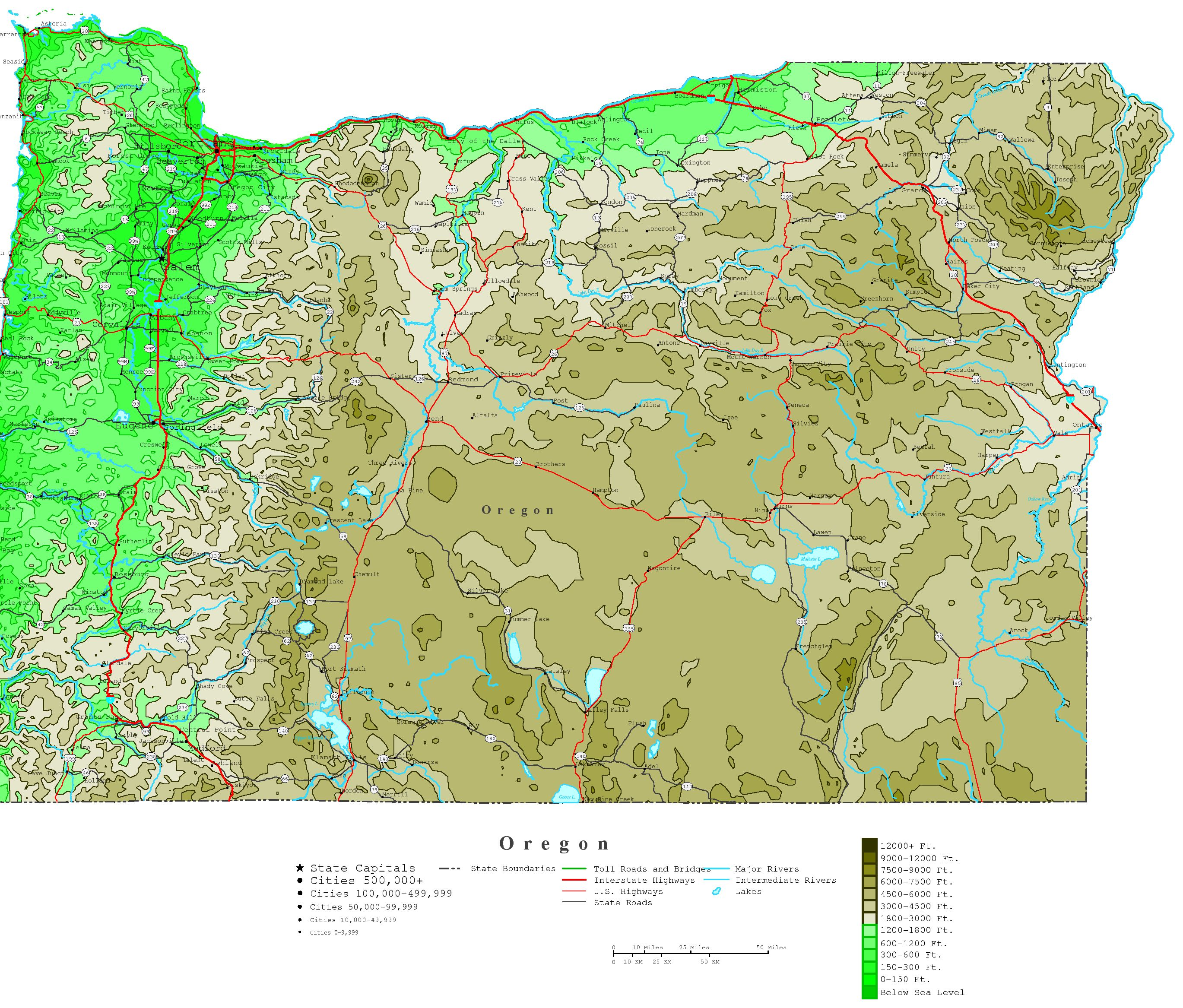 Oregon Contour Map - State map of oregon