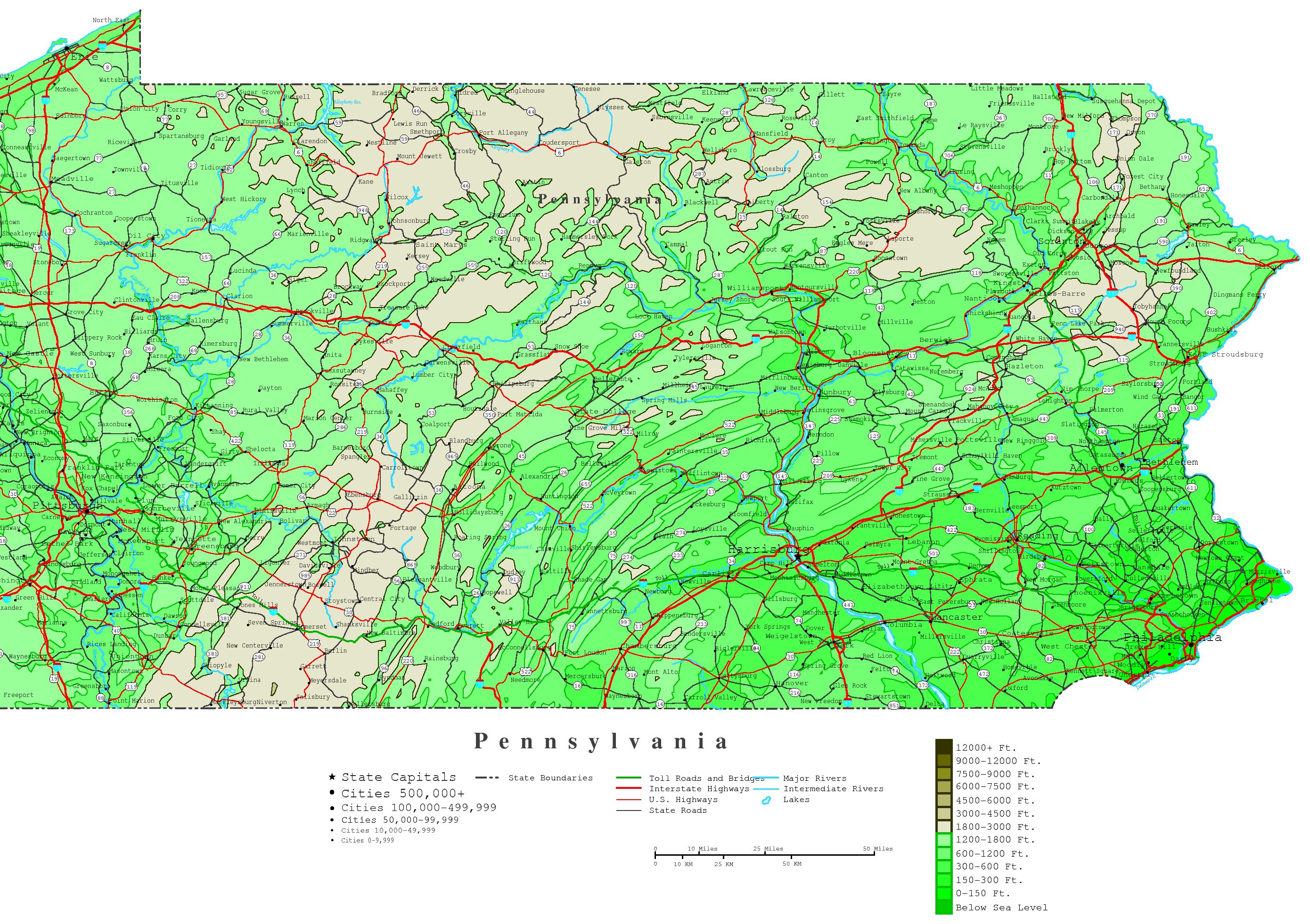 Pennsylvania Contour Map