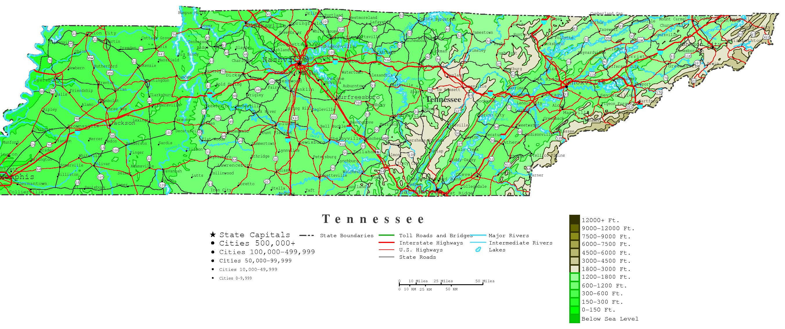 Tennessee Contour Map - Map of tn