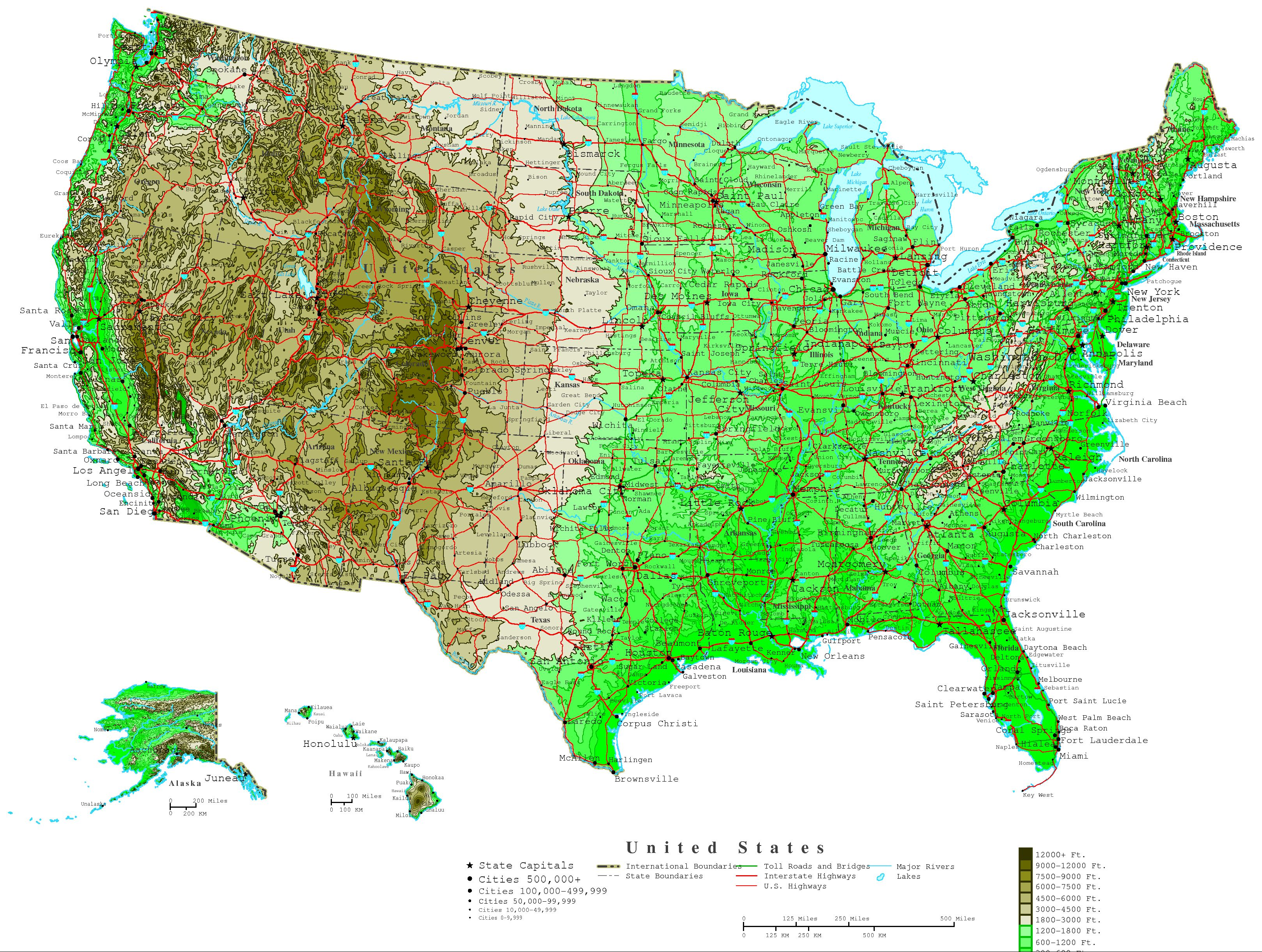 United States Contour Map - Southern us map with cities