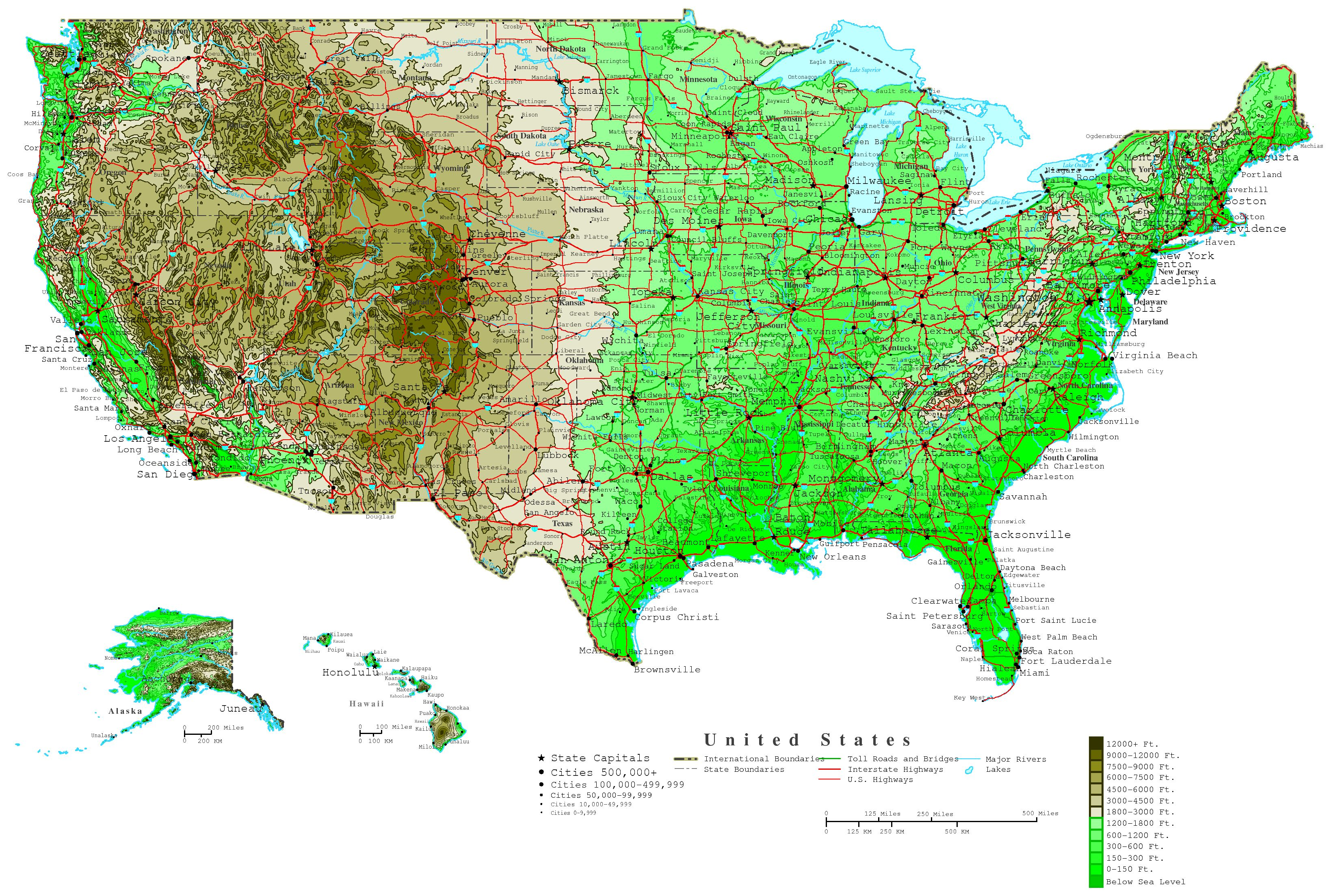 United States Elevation Map - Map of the usa states