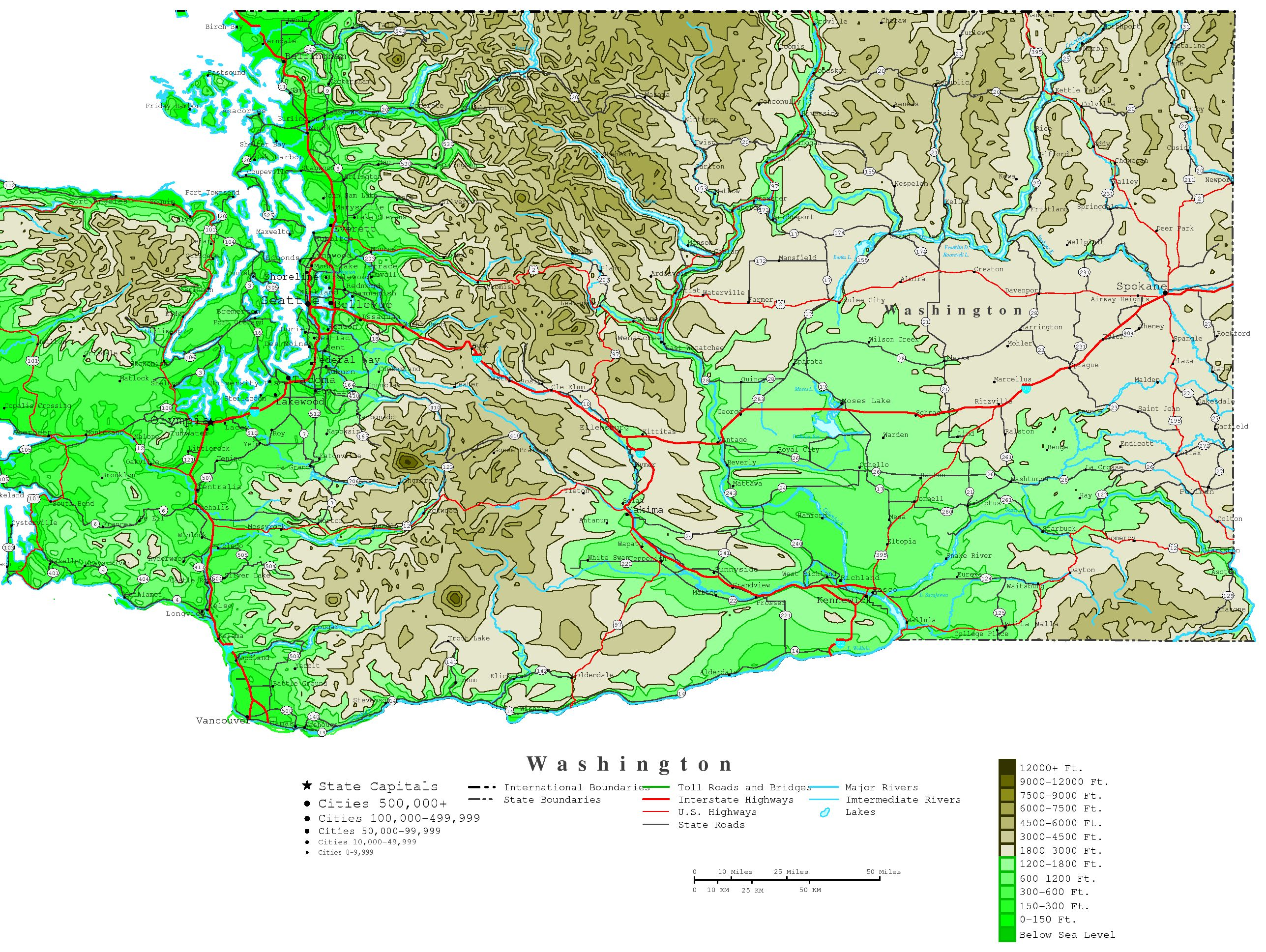 Washington Contour Map