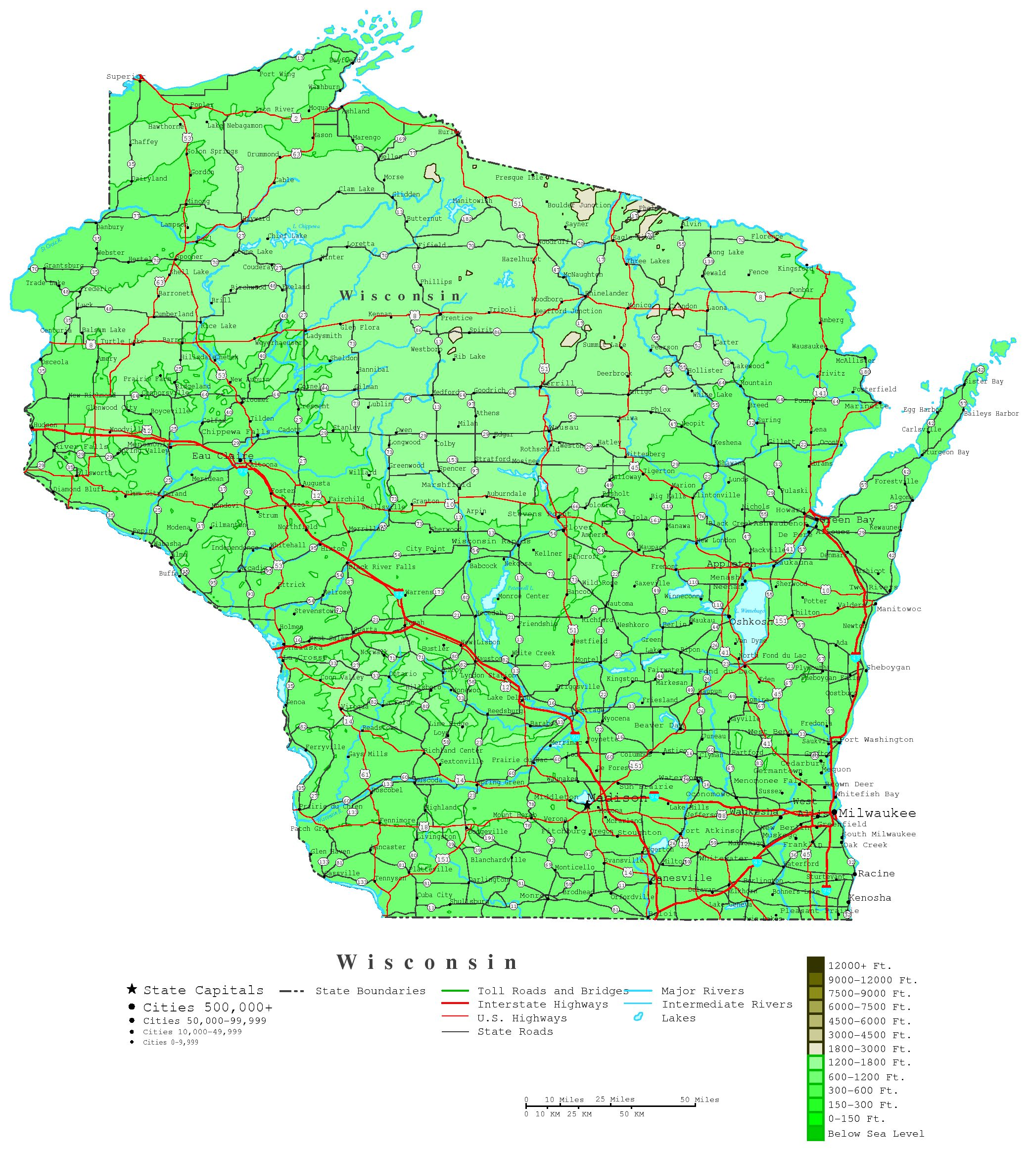 Wisconsin Contour Map - Wisconsin on the us map