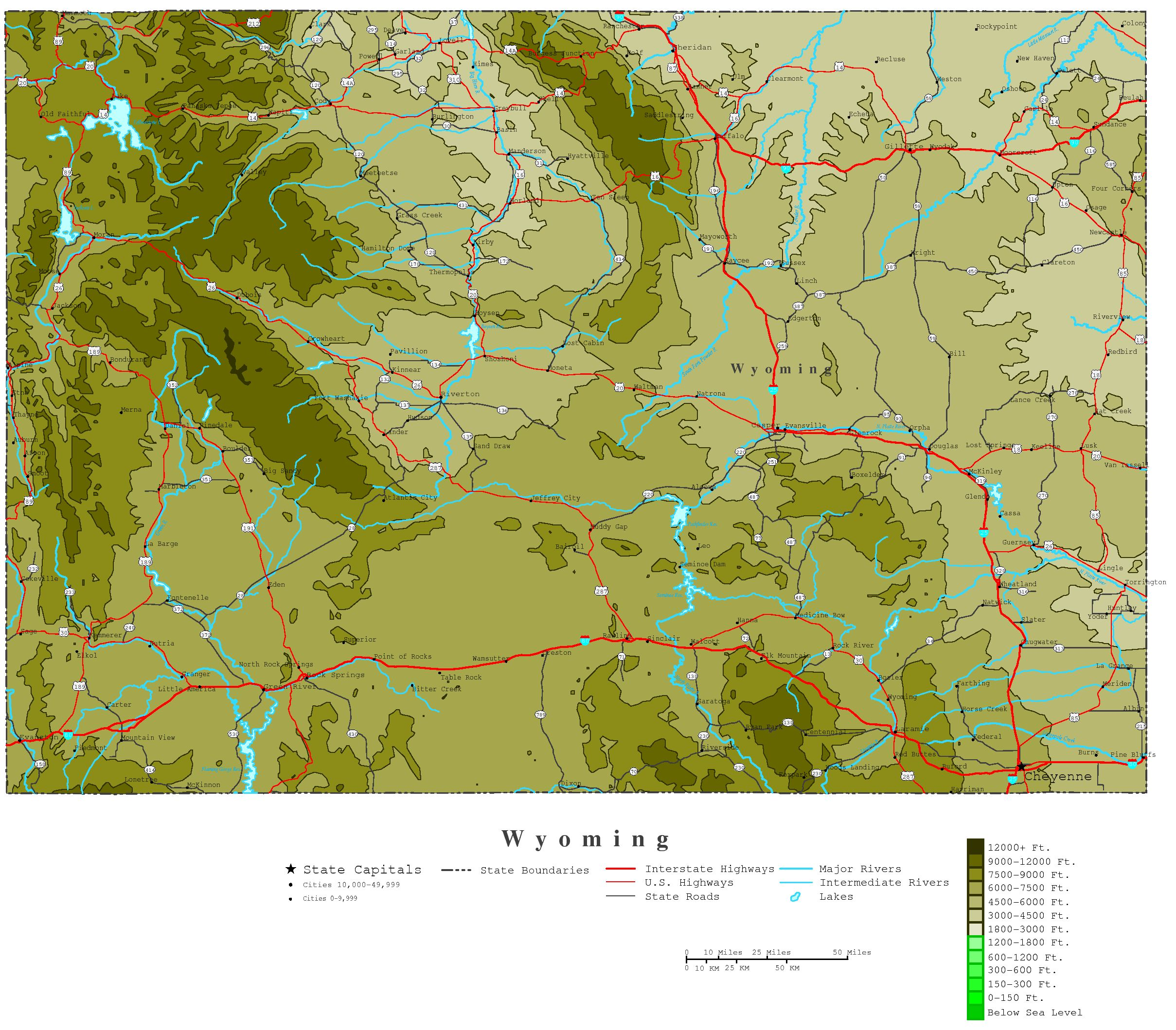 Wyoming Contour Map - Wyoming map