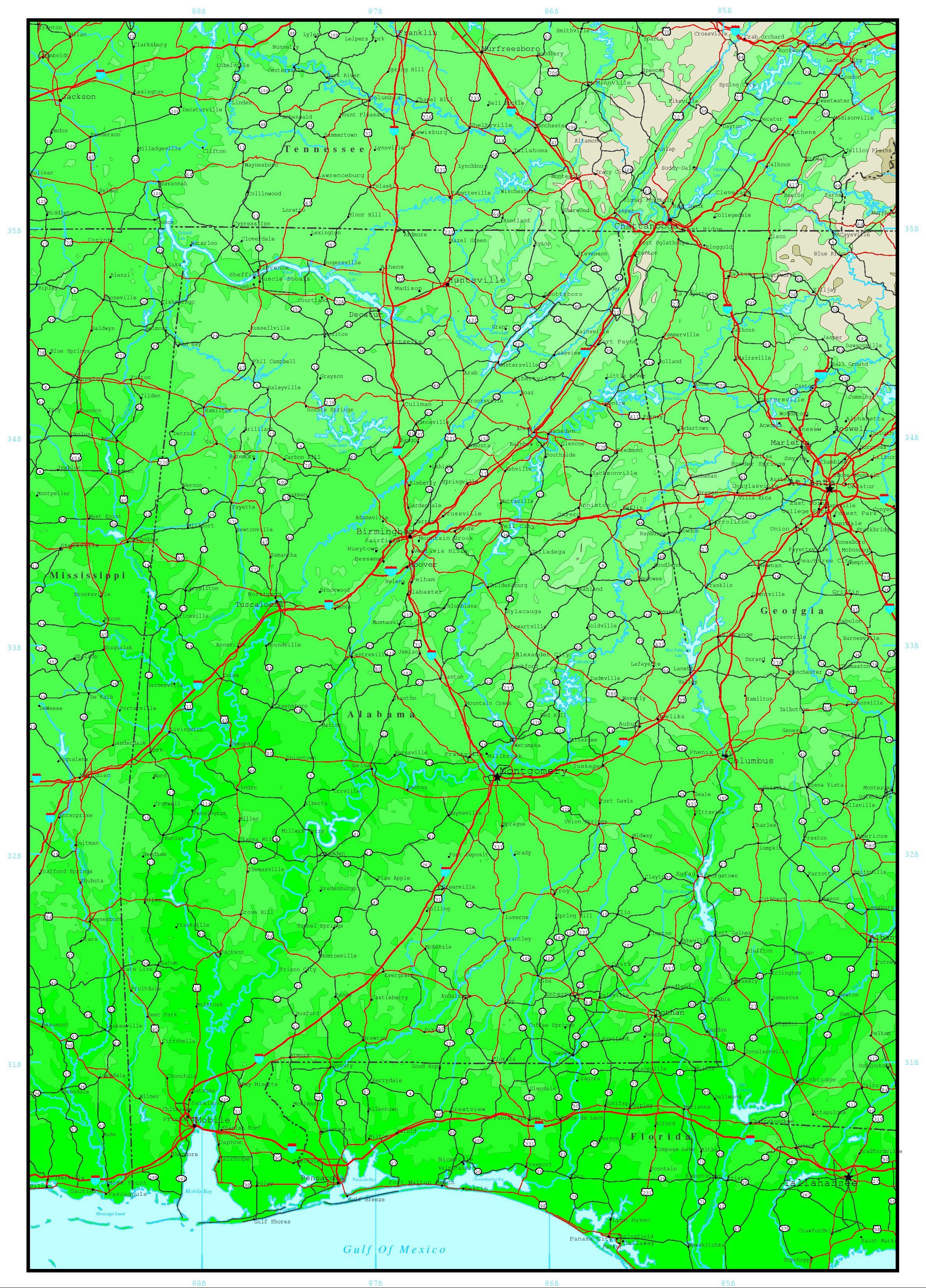 Alabama Elevation Map