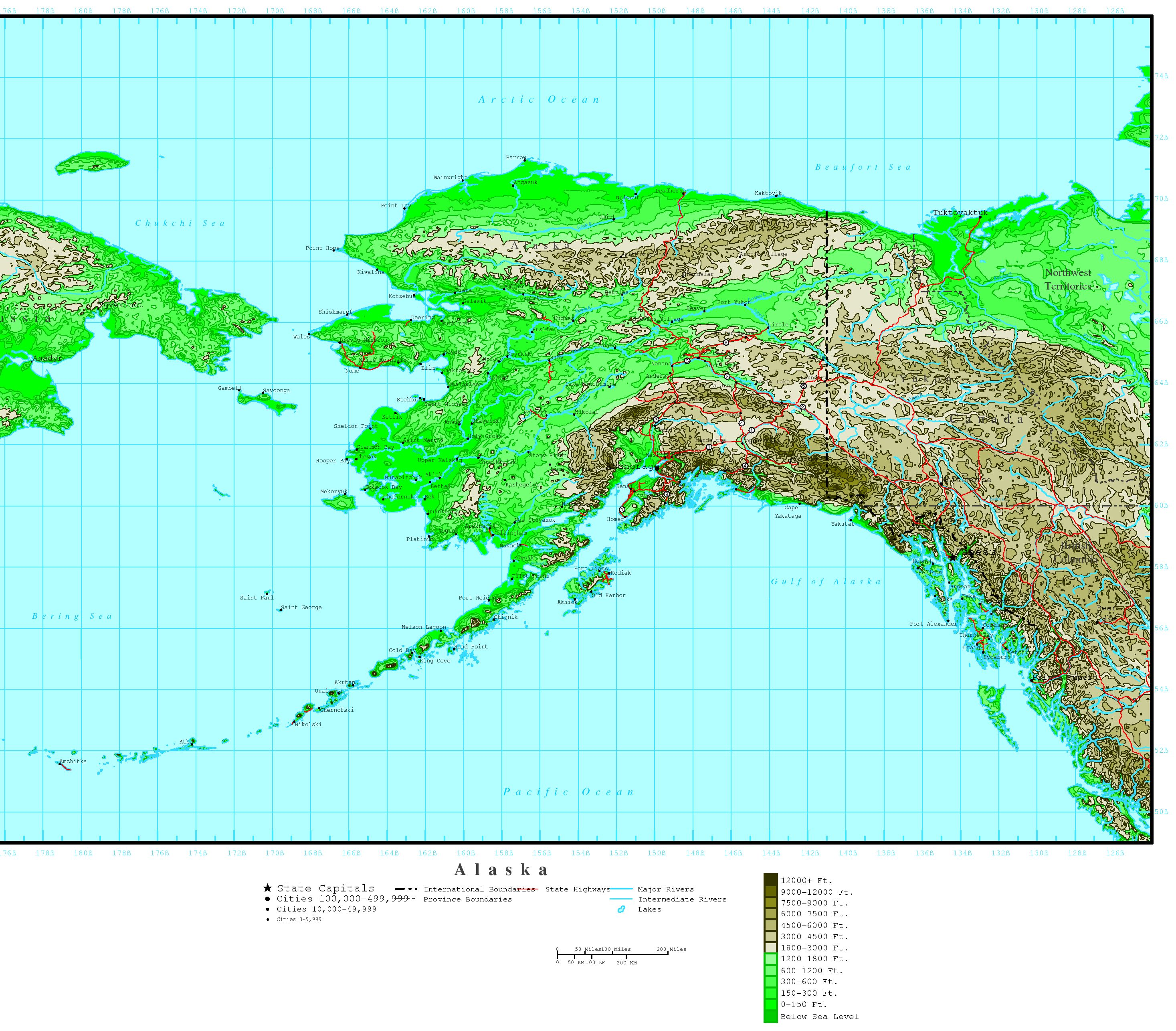 Alaska Elevation Map