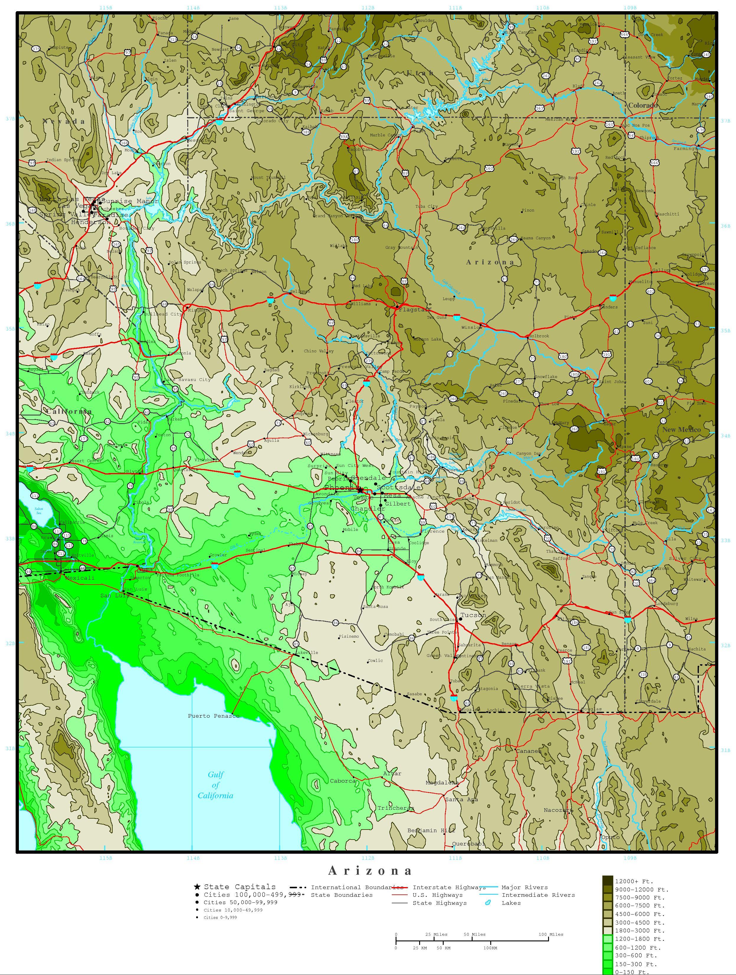 Elevation Map Of Arizona Arizona Elevation Map