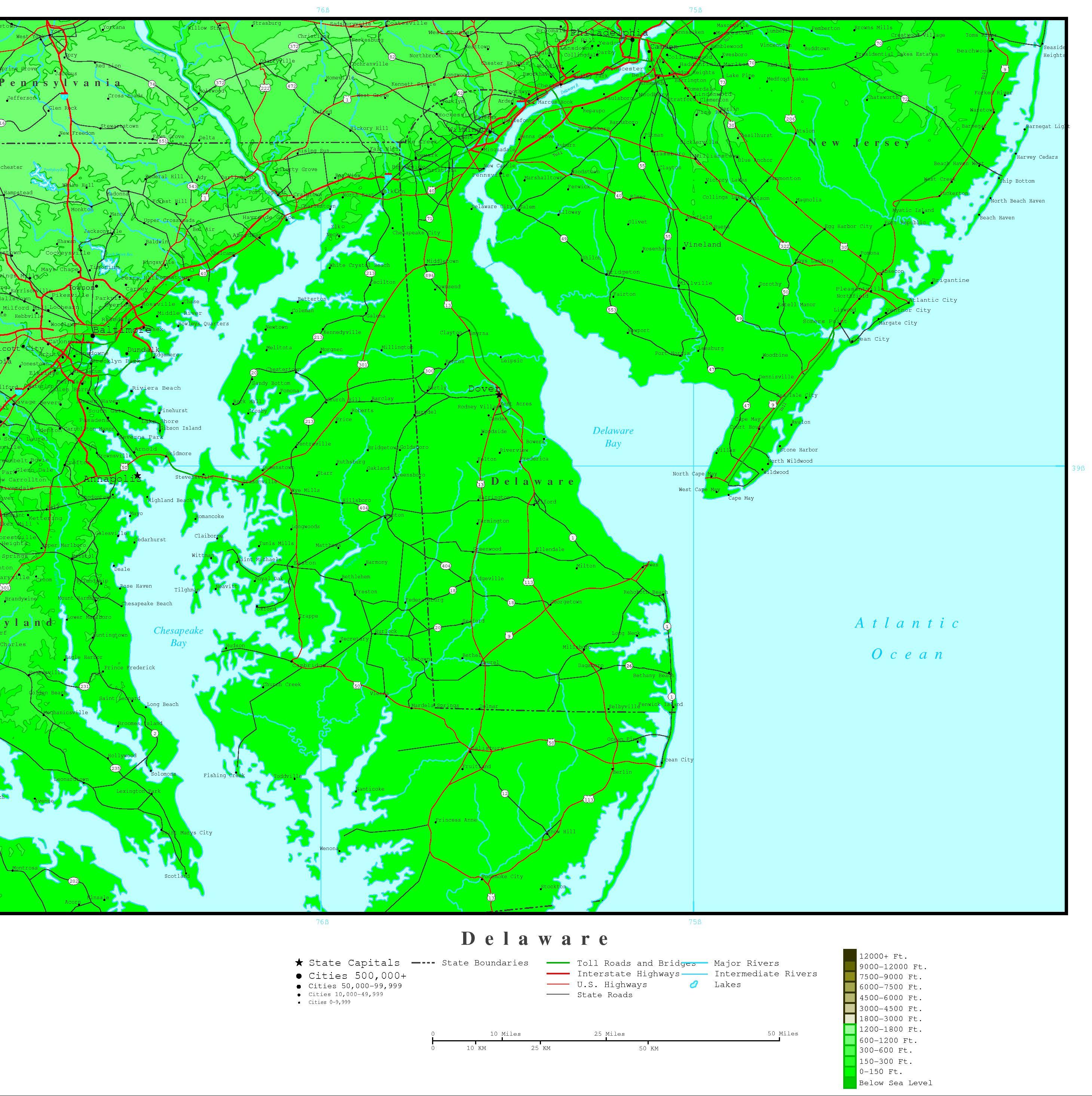 Delaware Elevation Map