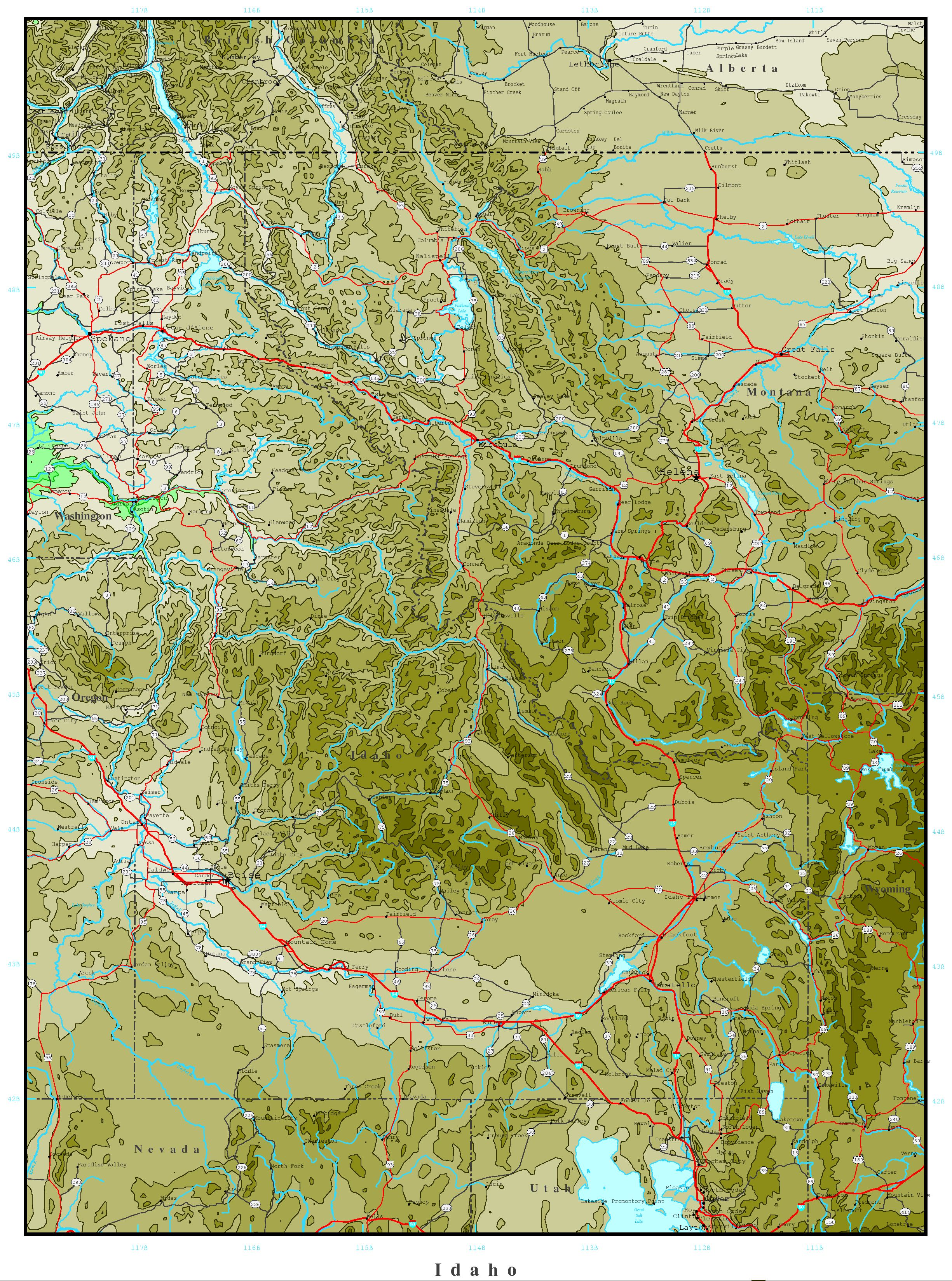 Idaho Elevation Map - Terrain map of the us