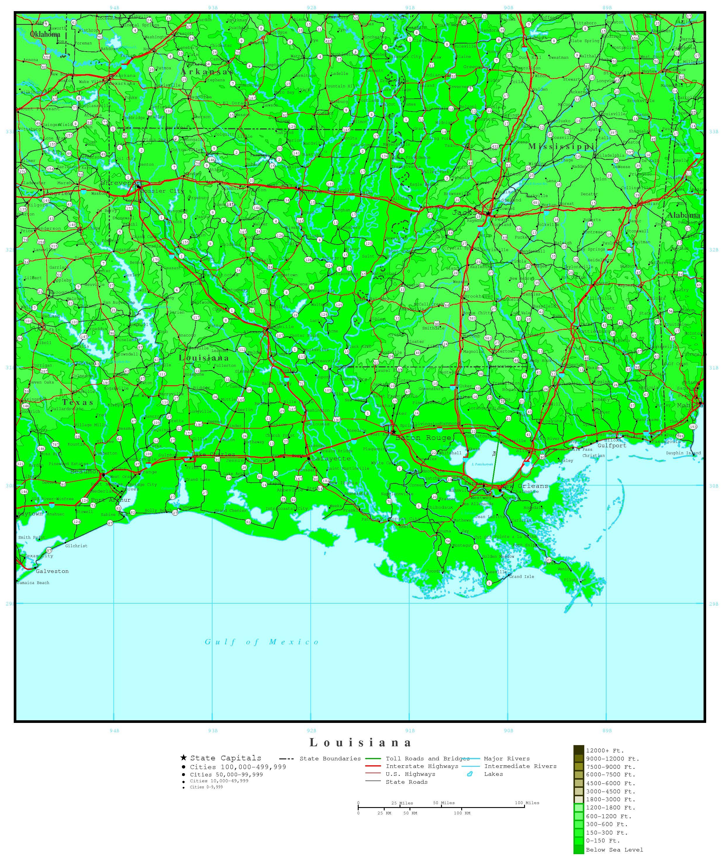 Elevation Map of Louisiana Louisiana Elevation Map