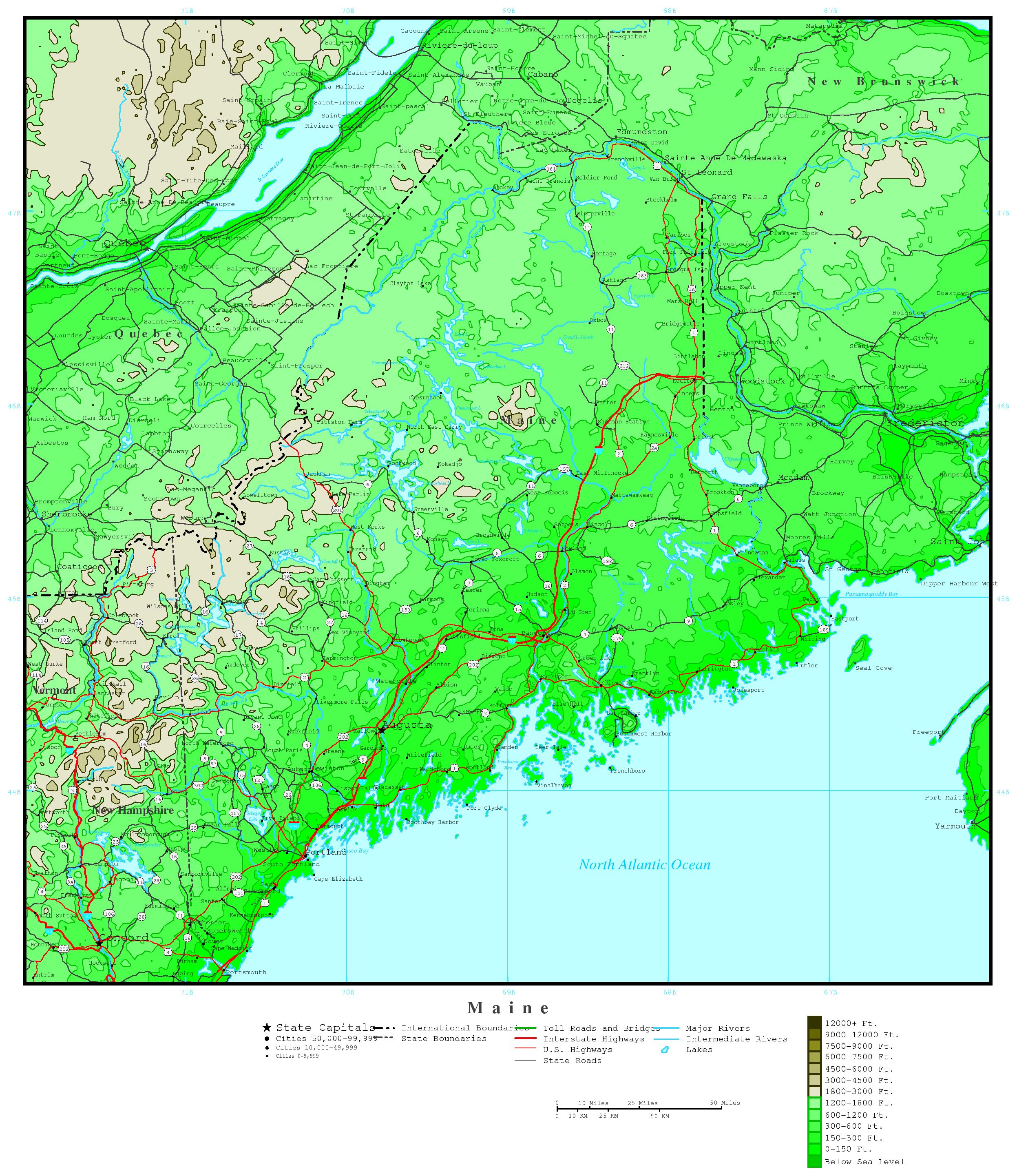 State Map Of Maine.Maine Elevation Map