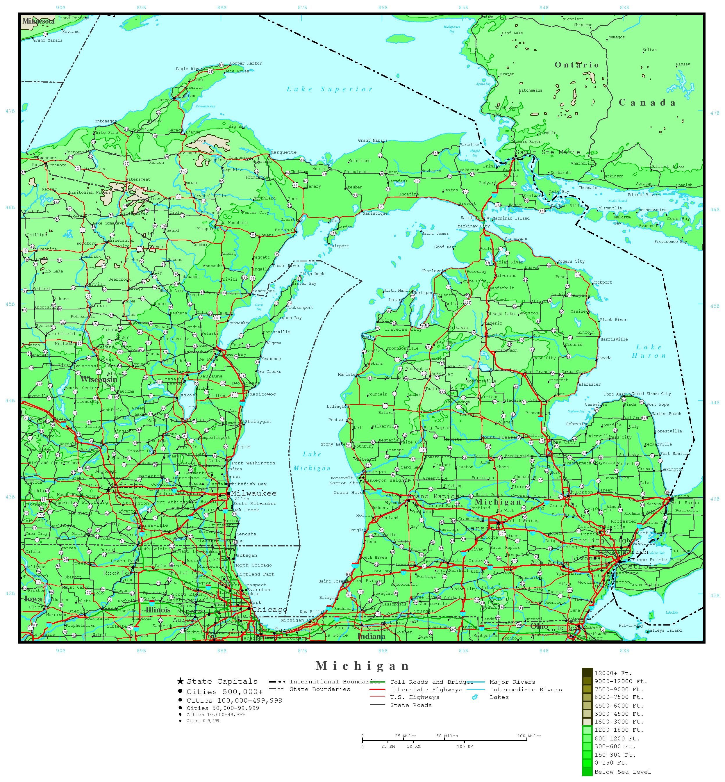 Michigan Elevation Map - Map of the state of michigan