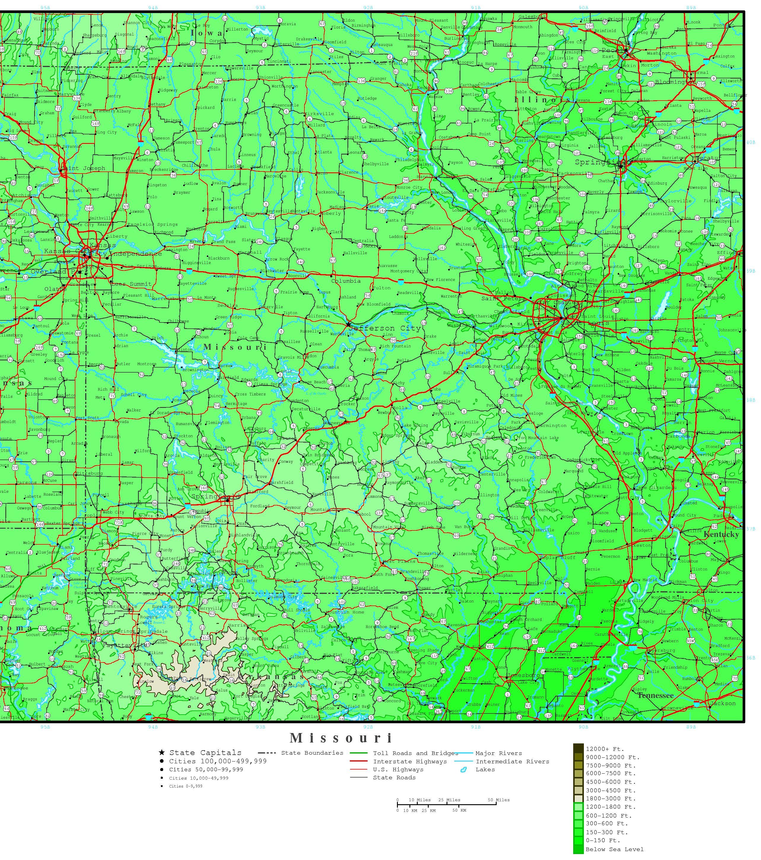 Missouri Elevation Map