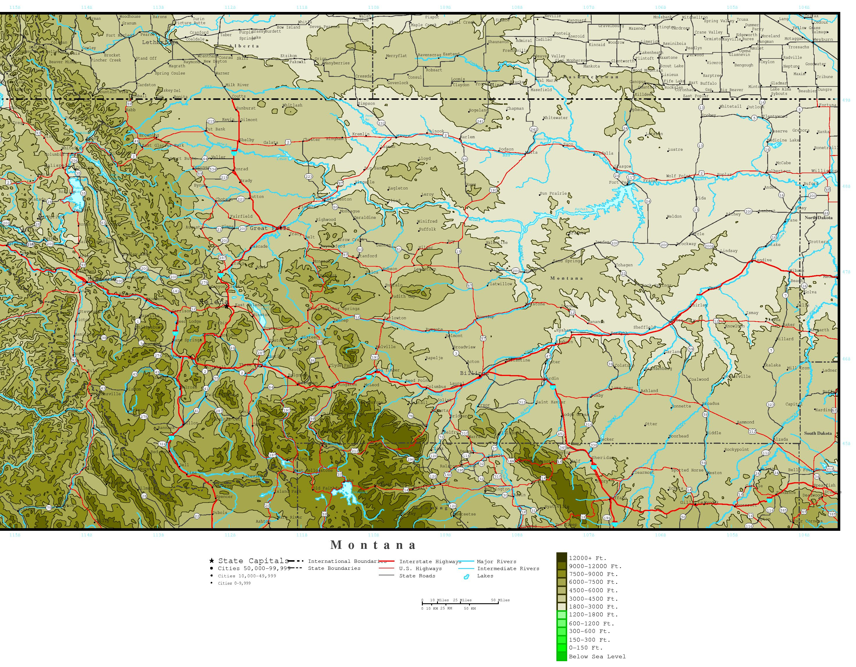 Montana Elevation Map - Map of montana with cities