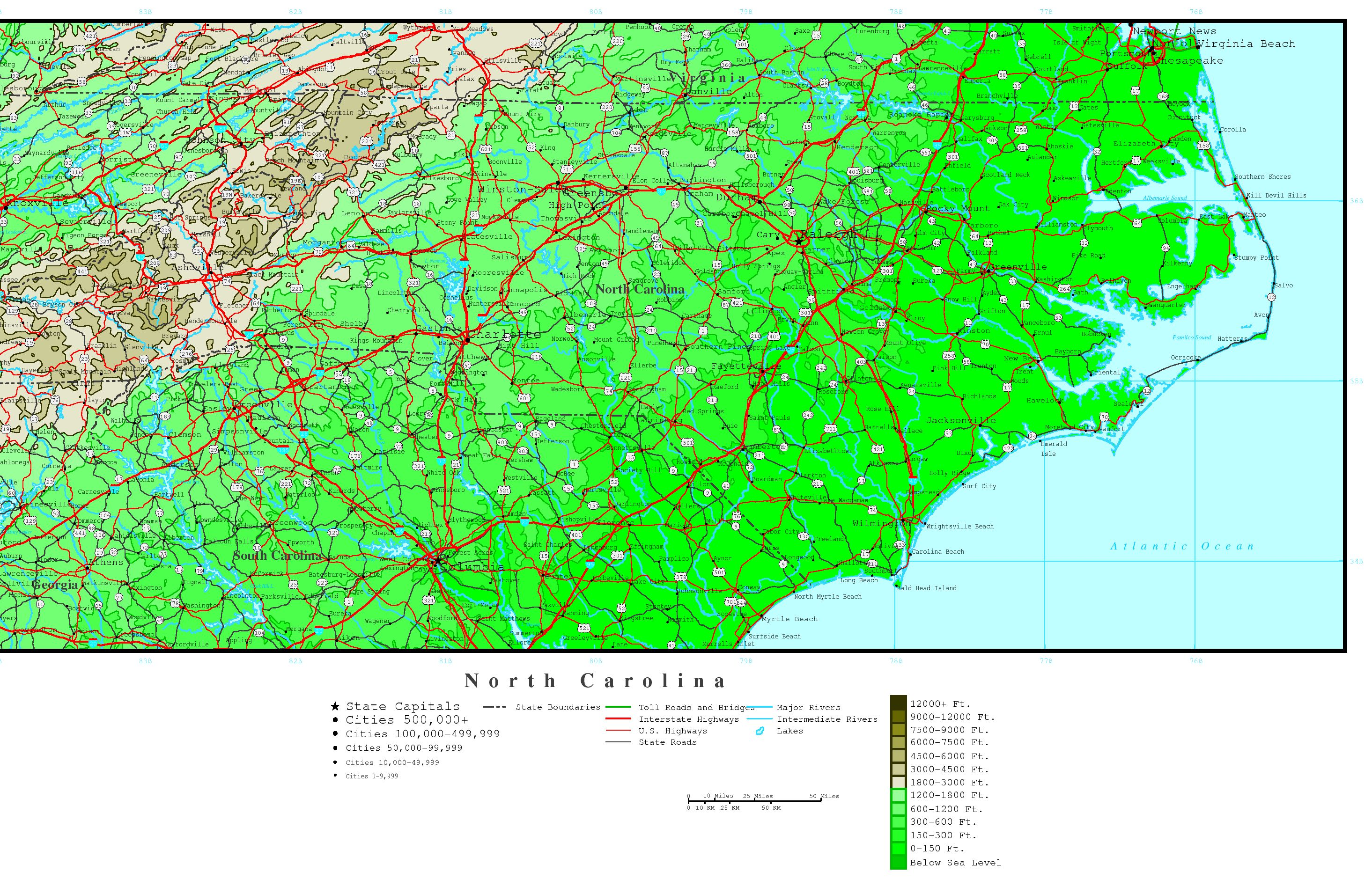 North Carolina Elevation Map - Map of north carolina with cities