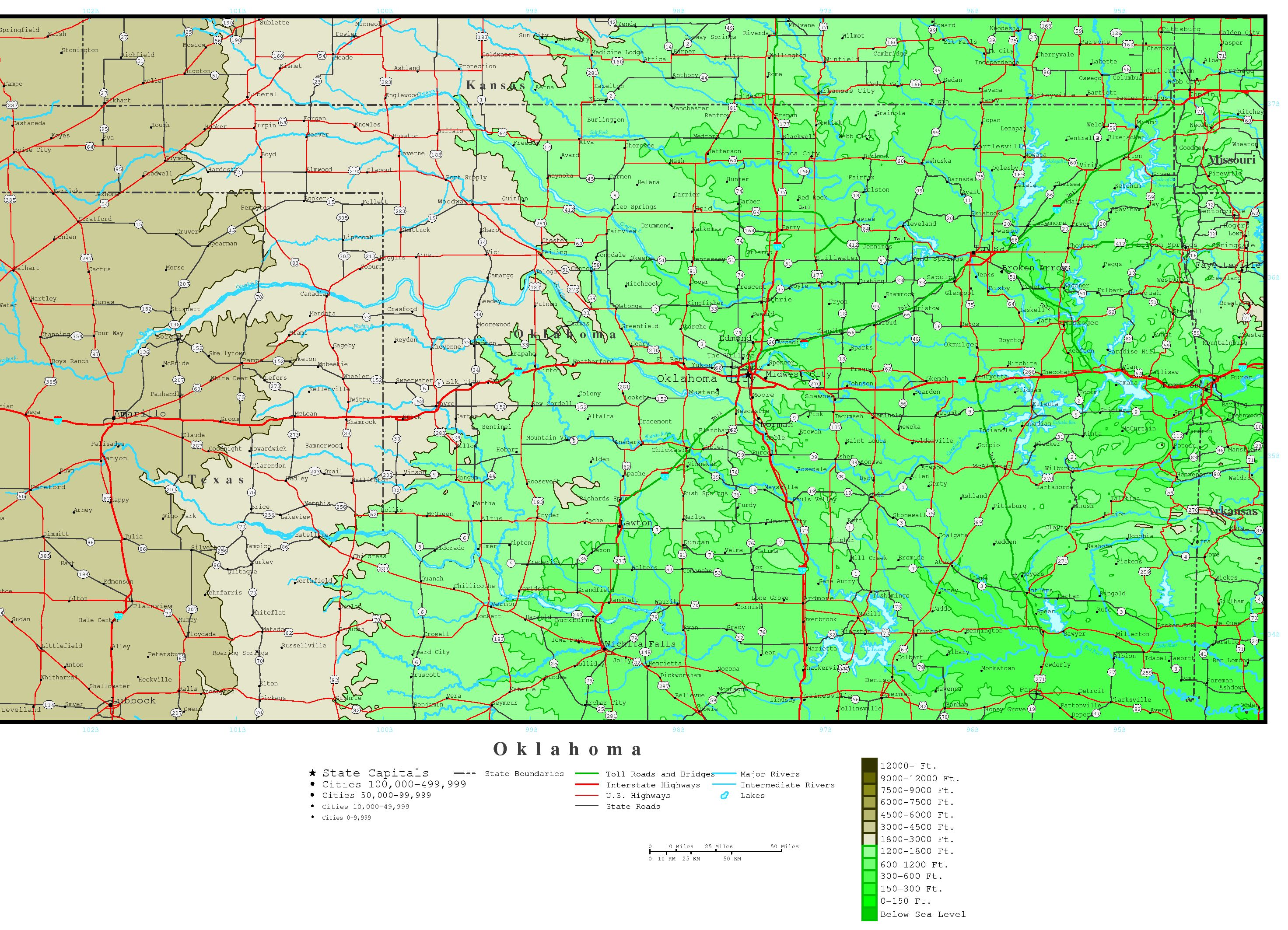 Elevation Map of Texas Elevation Map of Oklahoma