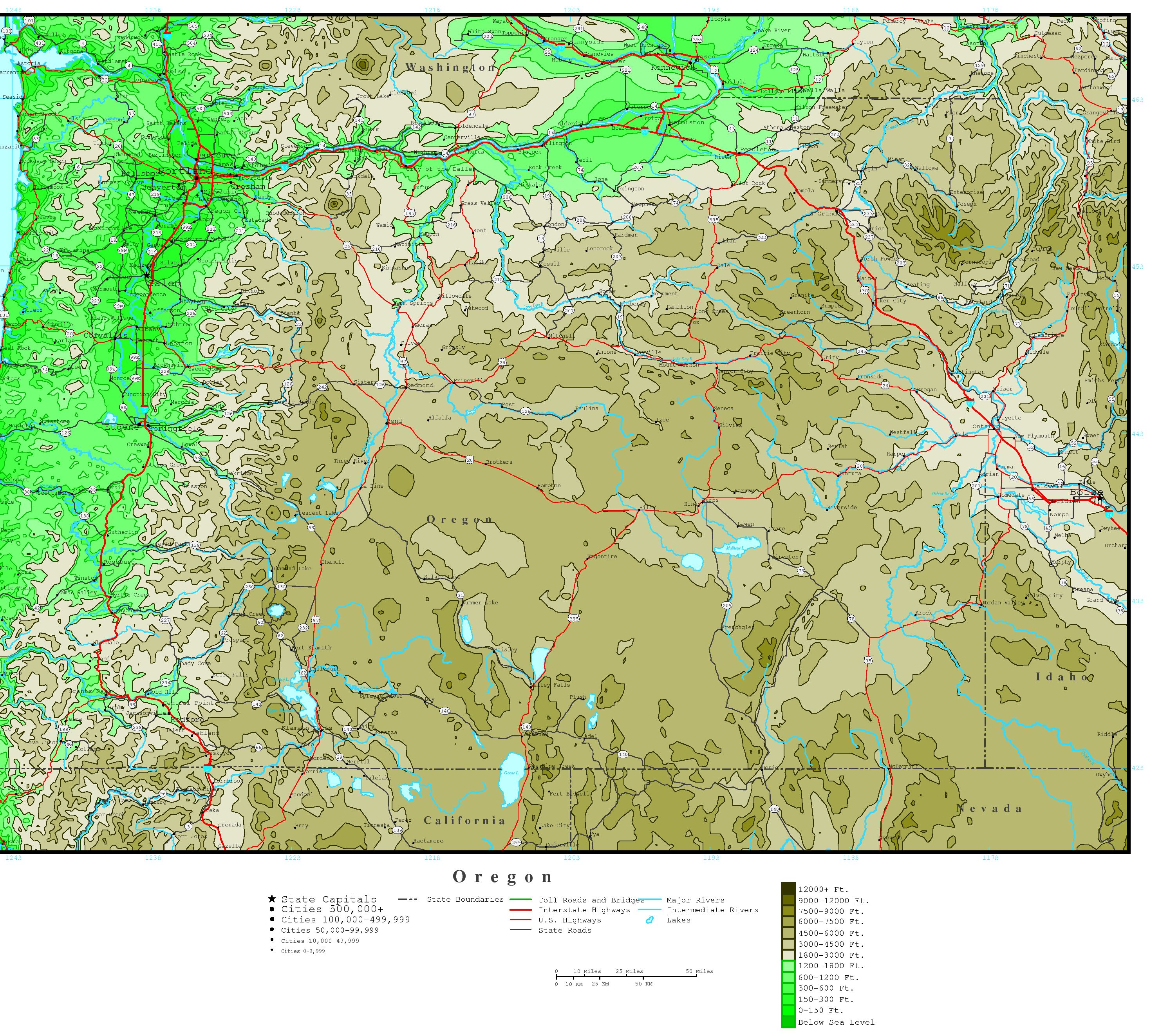 Oregon Elevation Map - Maps of oregon