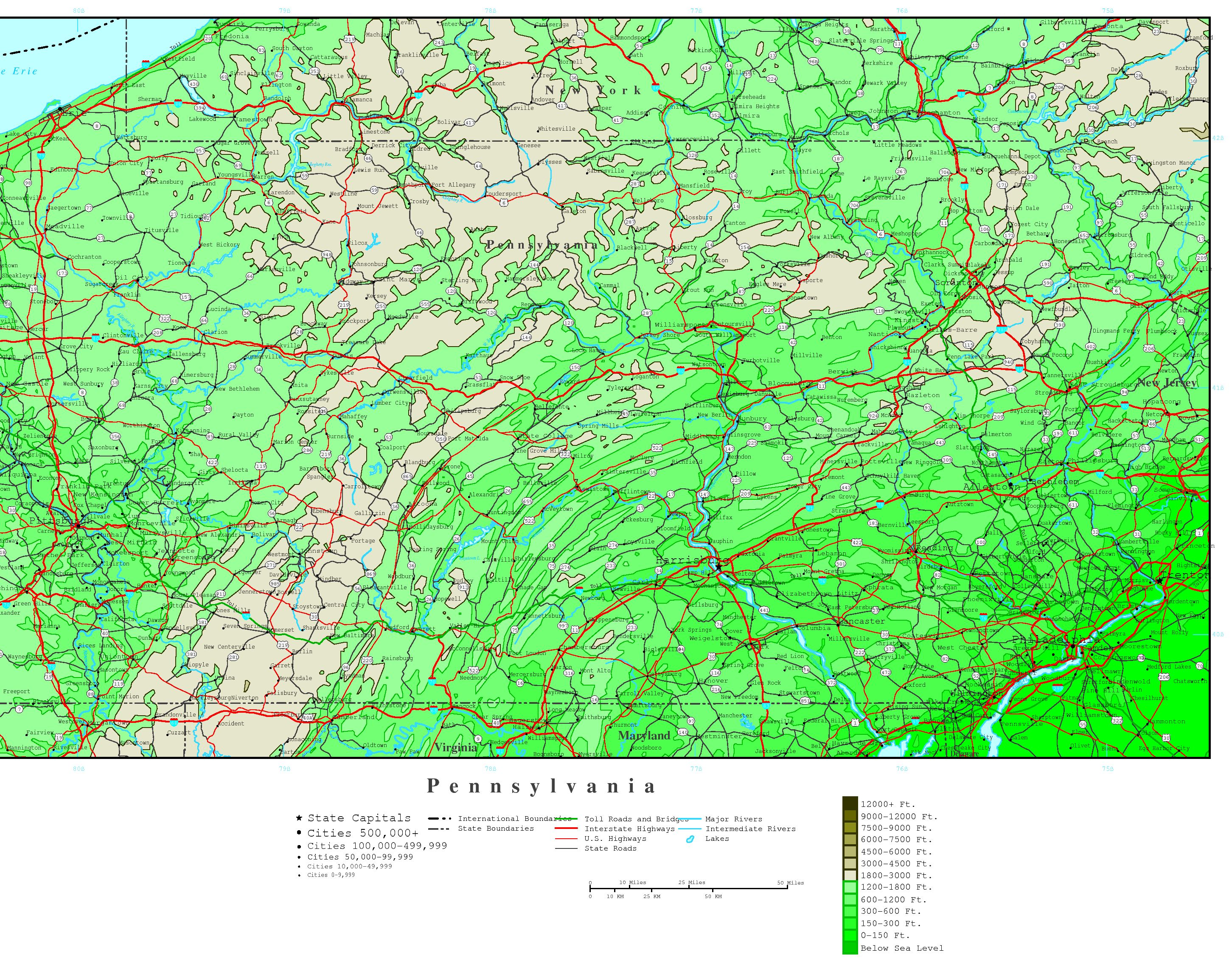 Topographical Map Of Pa Pennsylvania Elevation Map