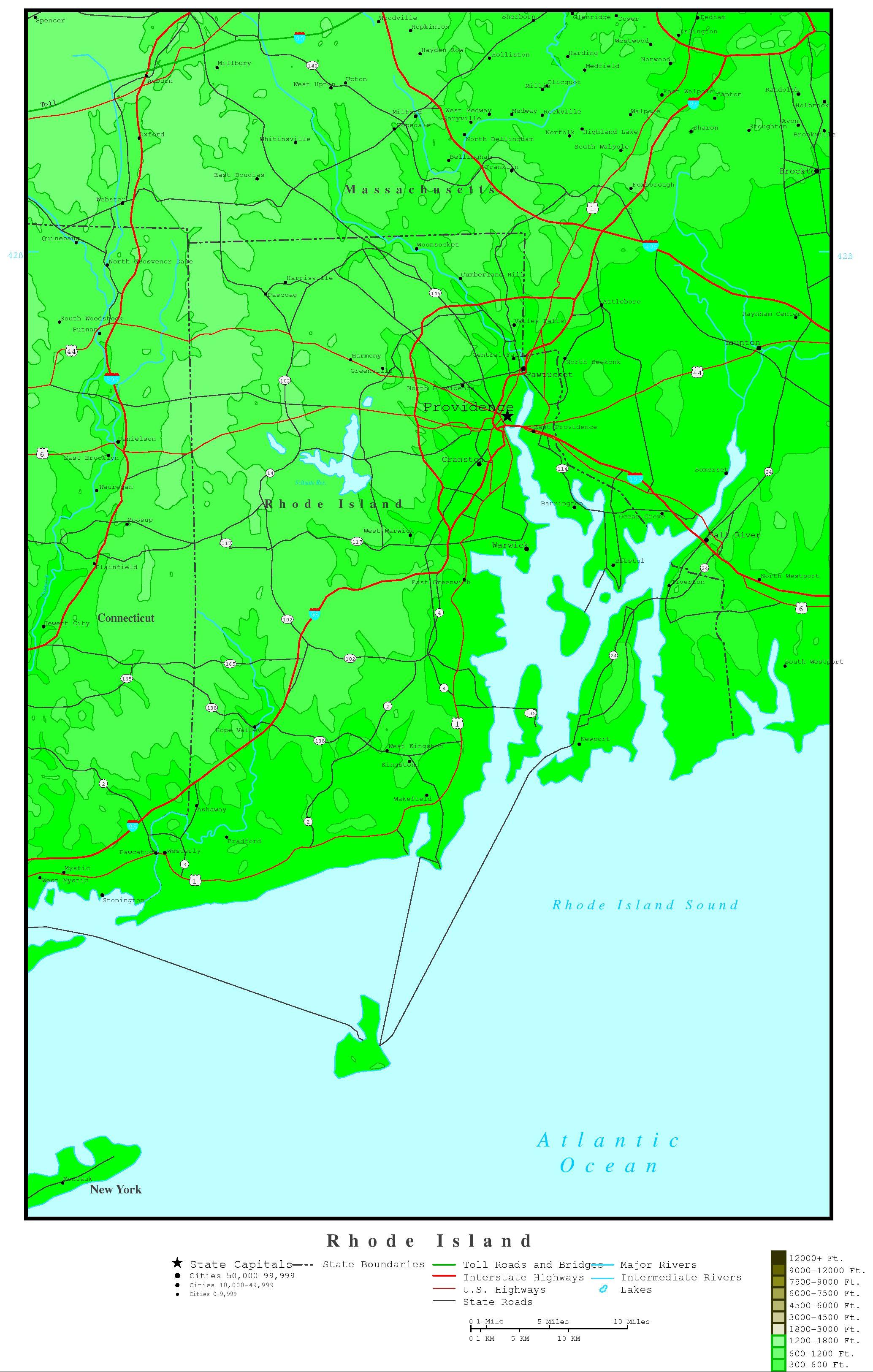Rhode Island Elevation Map - Map of ri
