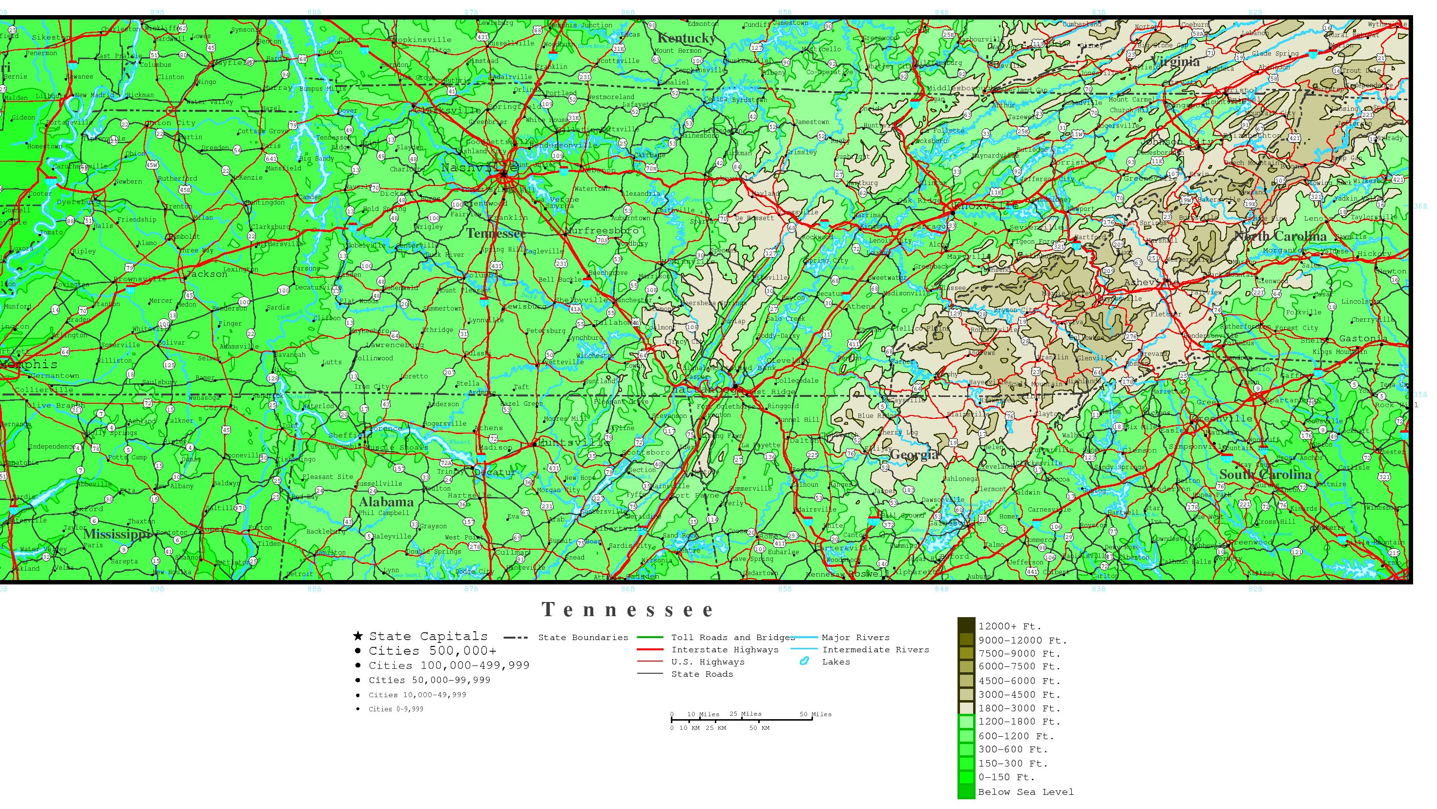Tennessee Elevation Map