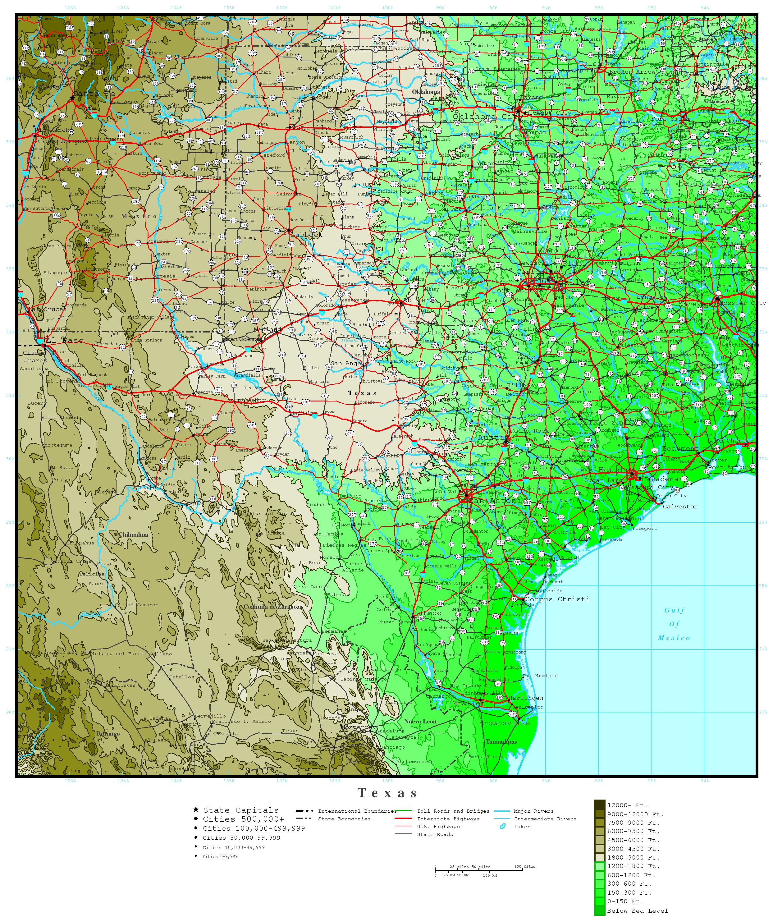 Texas Elevation Map - Map of texas showing major cities