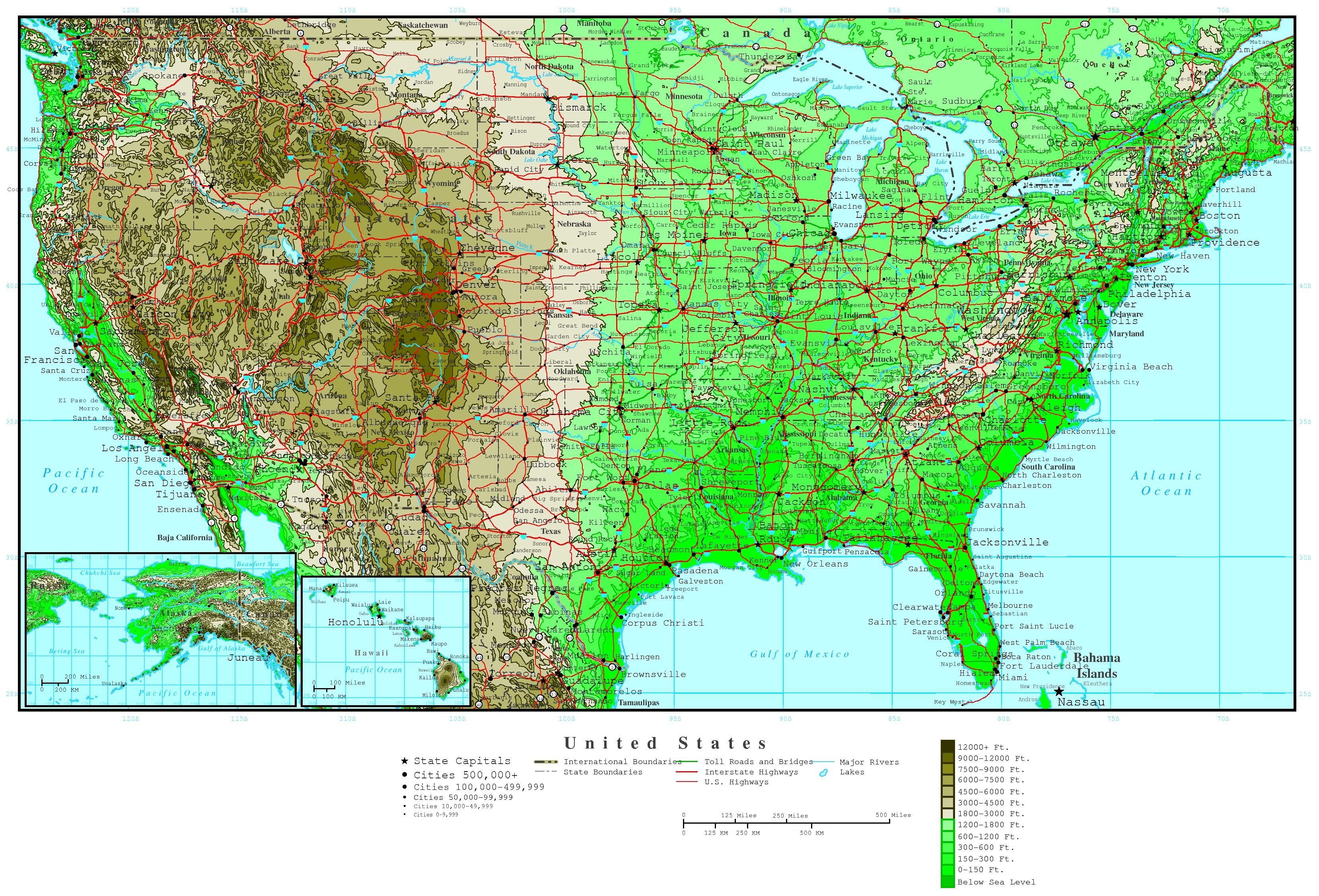 United States Elevation Map - Usa map with cities and states detailed