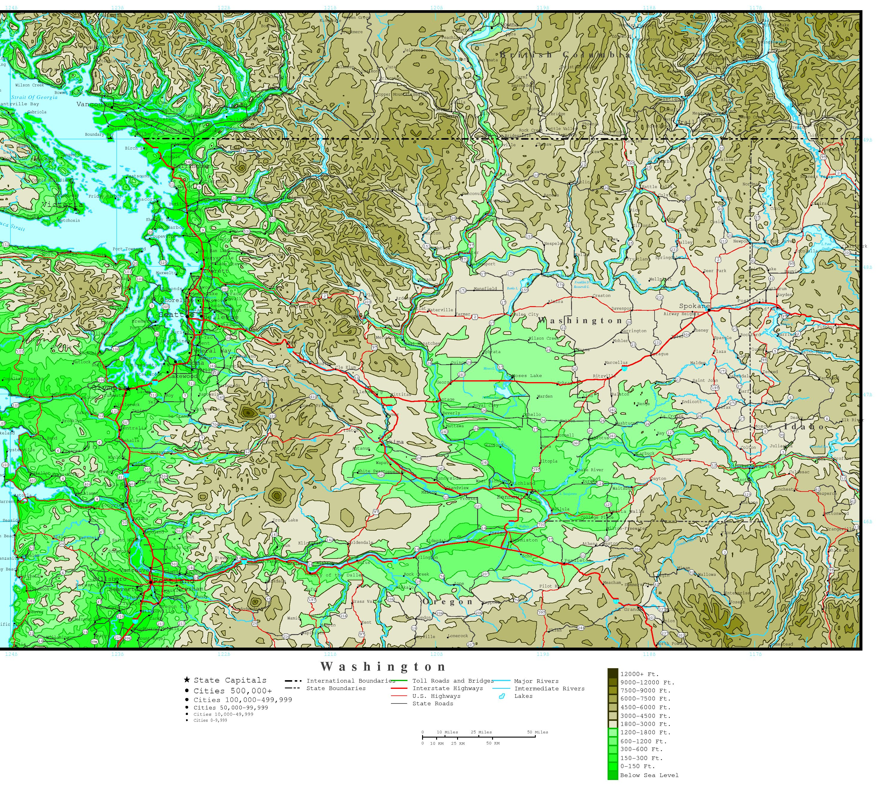 Washington State Map Seattle.Washington Elevation Map