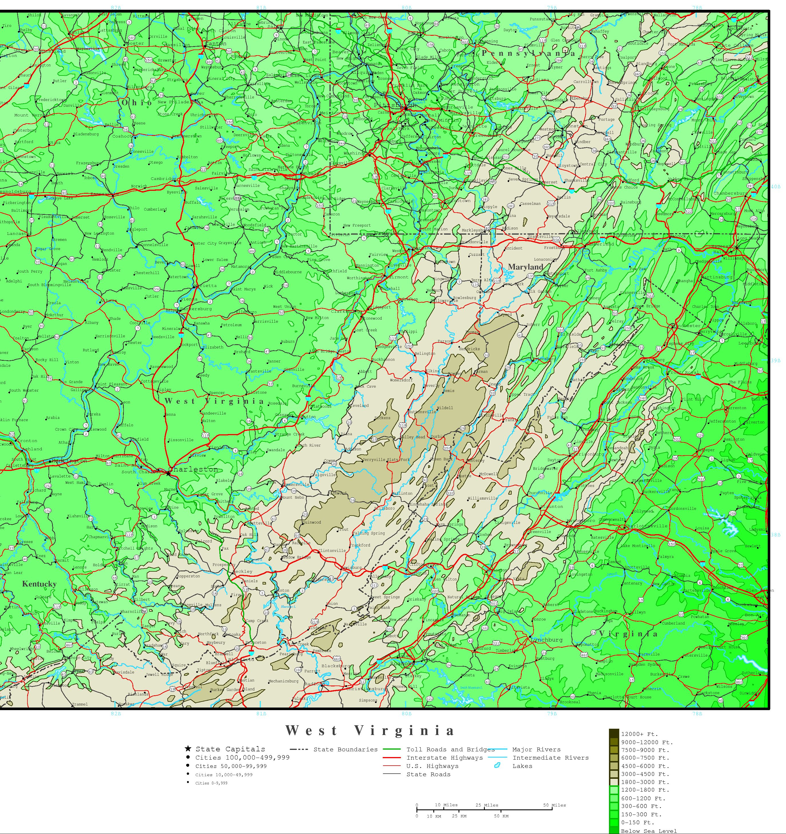 West Virginia Elevation Map - State of west virginia map