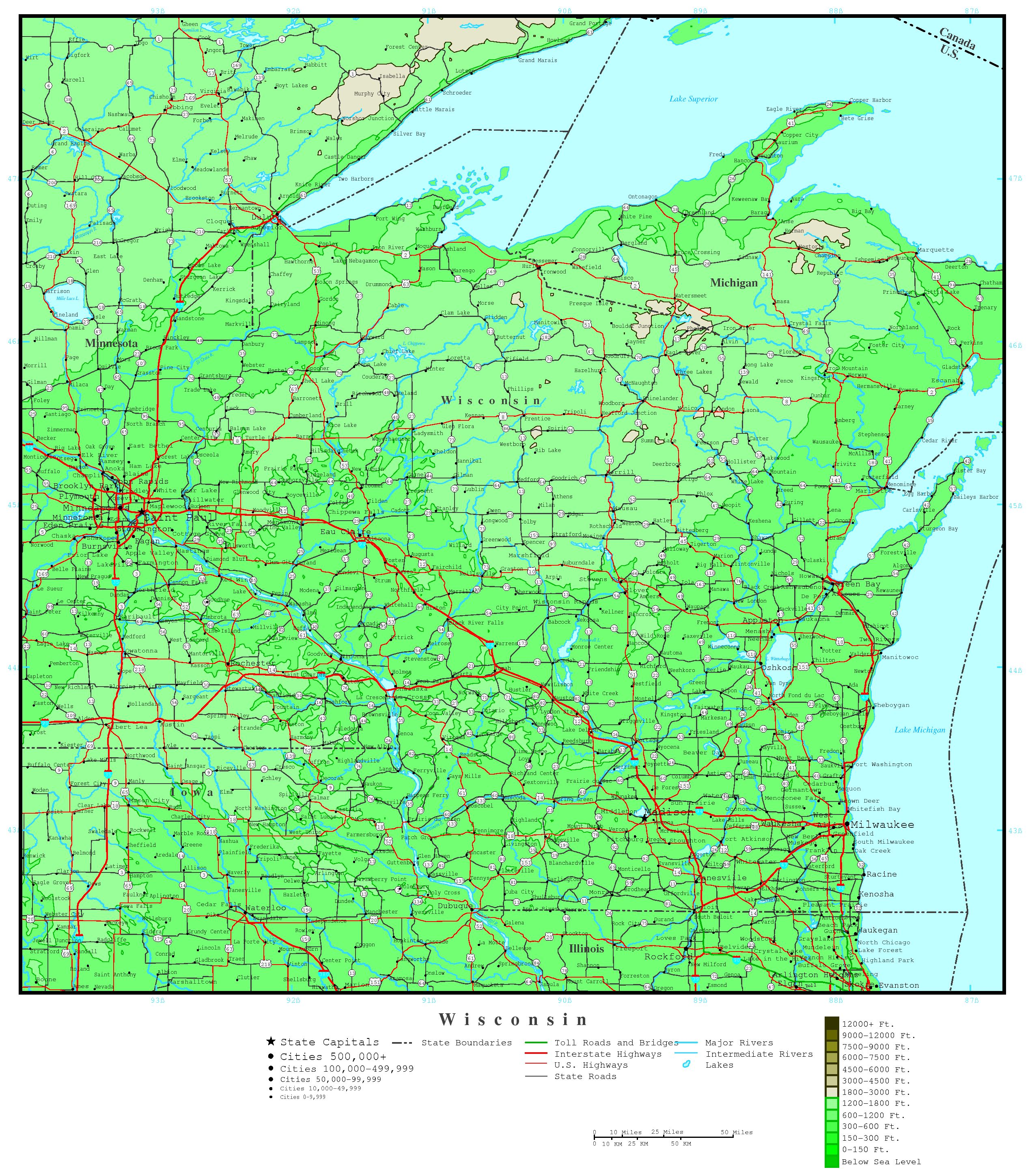 Wisconsin Elevation Map