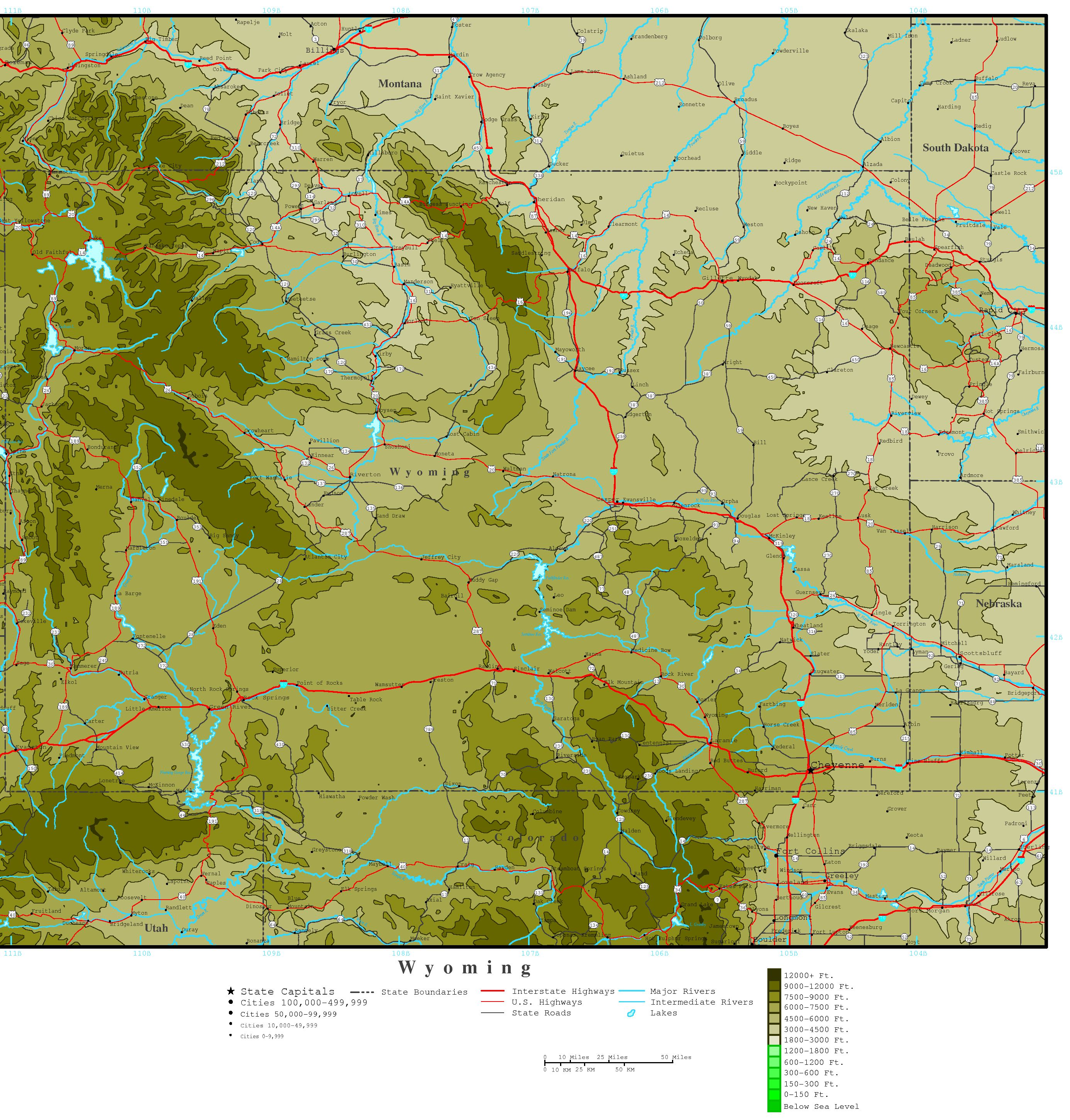 Wyoming Elevation Map - Elevation map of us