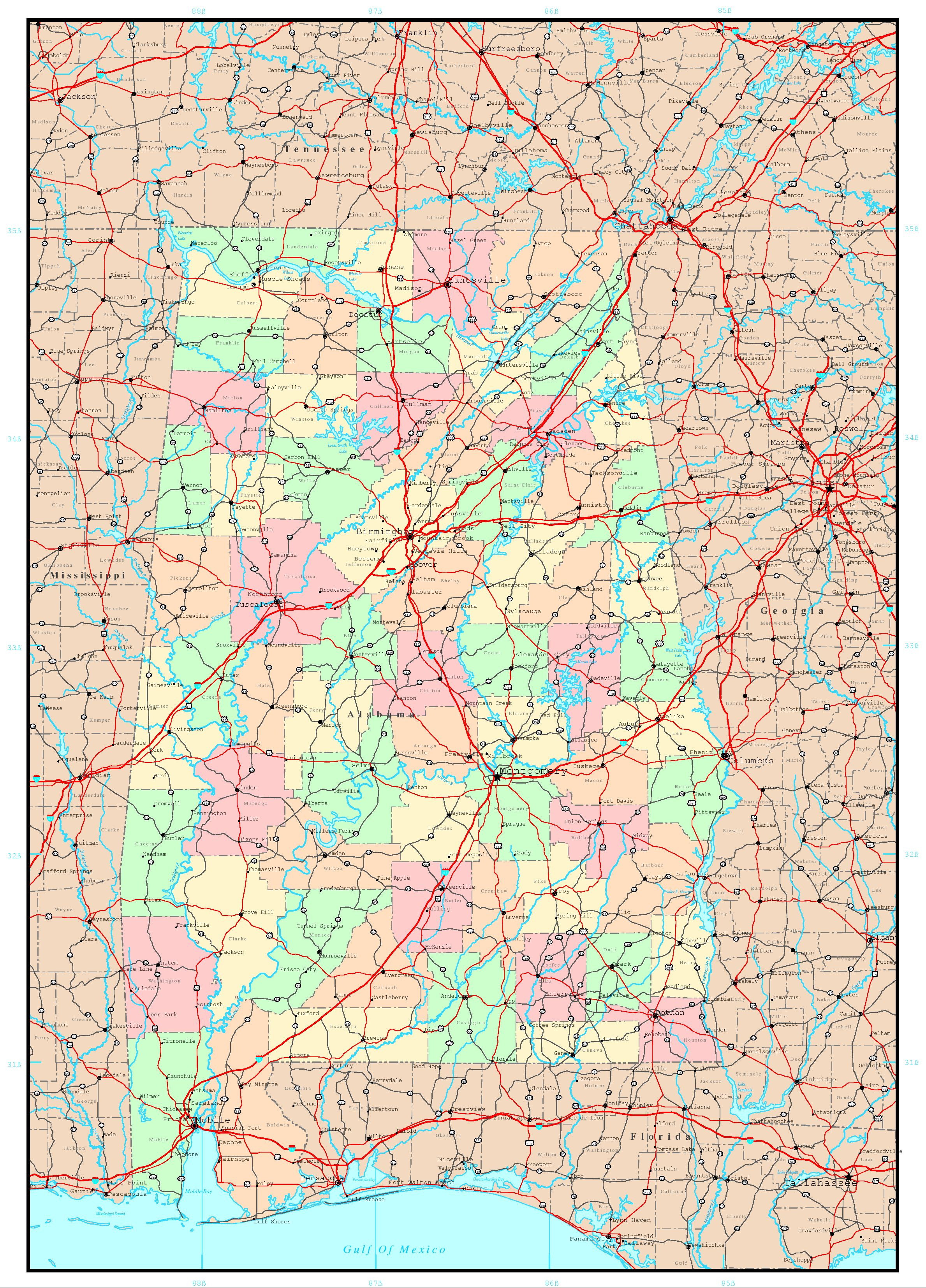Alabama Political Map - Maps of alabama