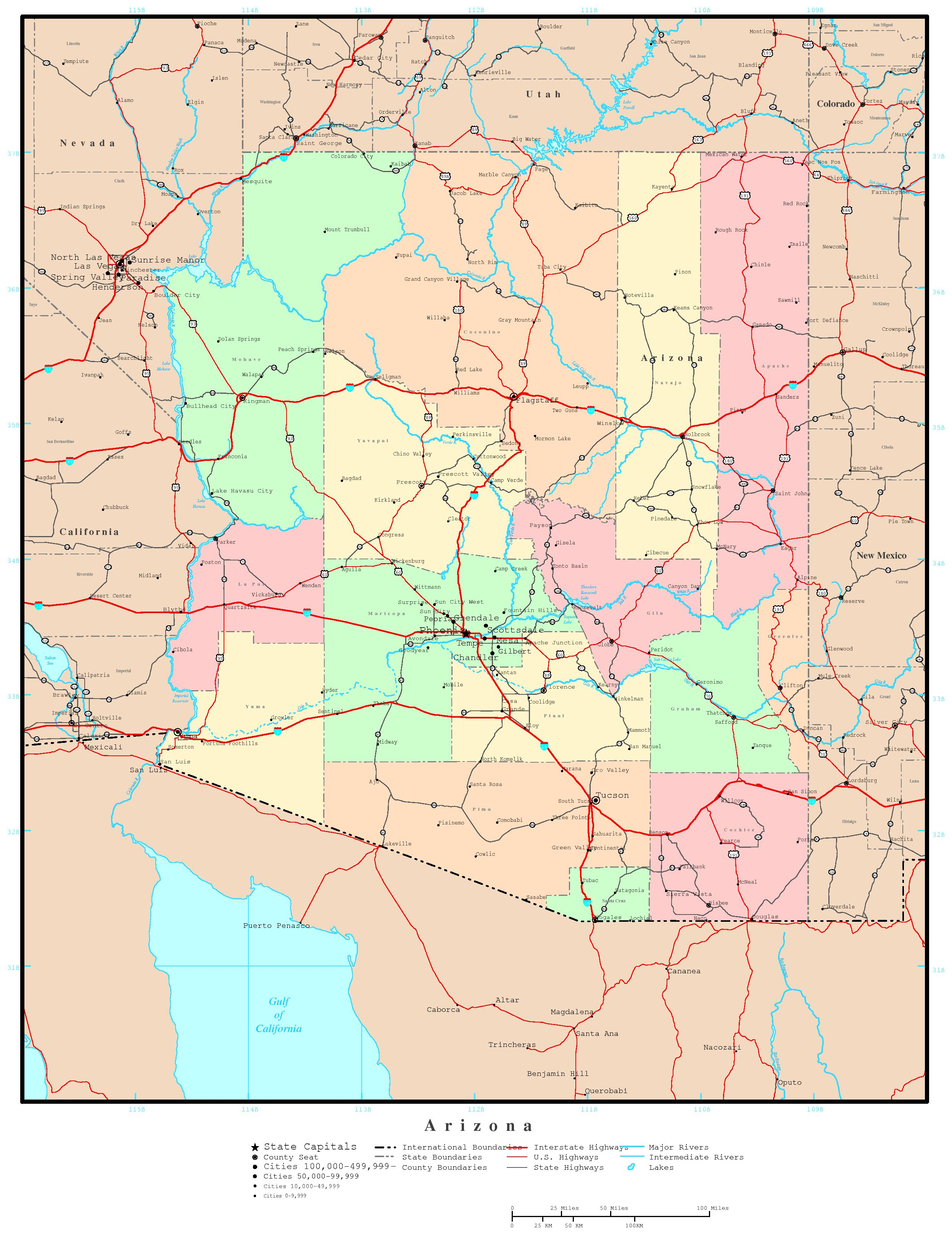 Arizona Political Map - Road map of arizona