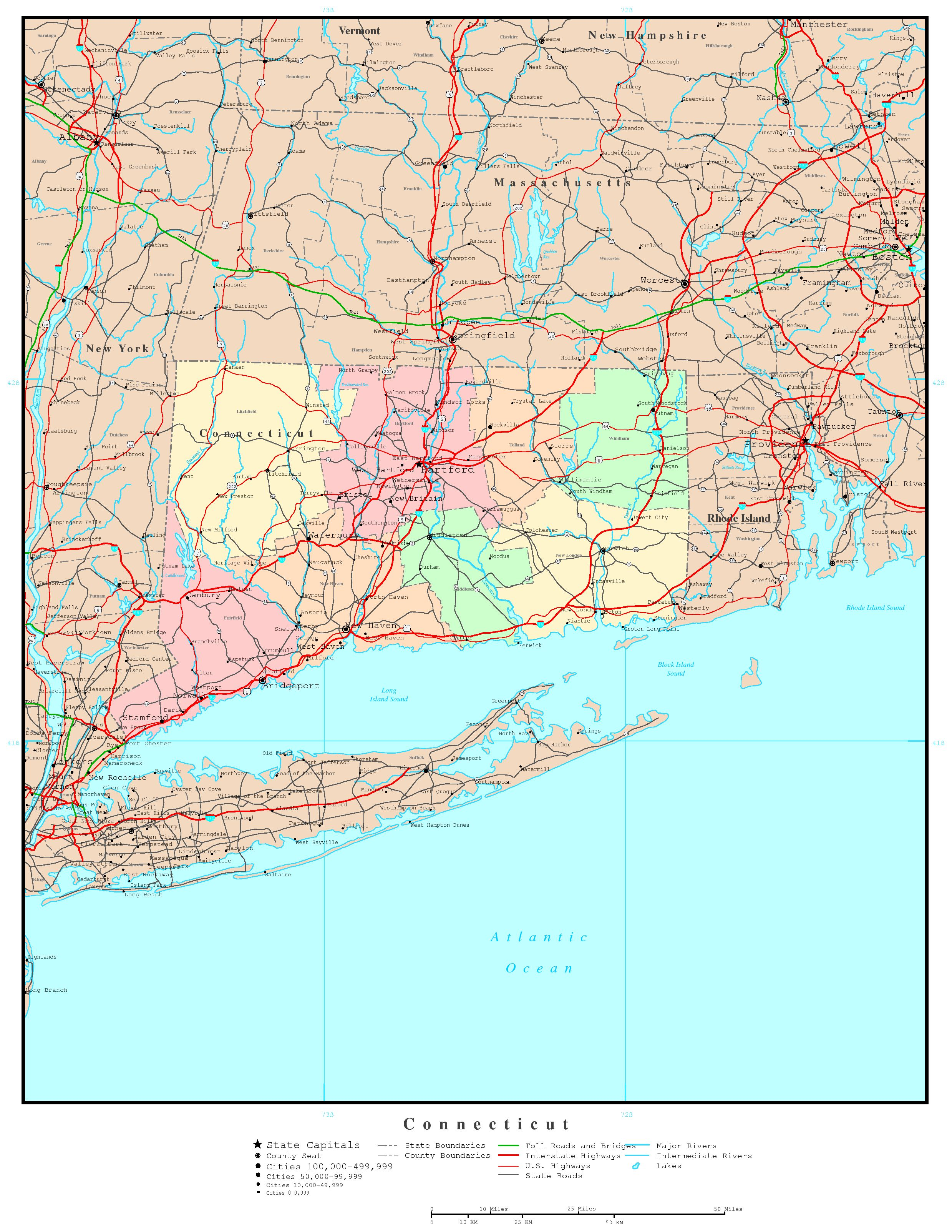 Connecticut Political Map - Connecticut on a us map