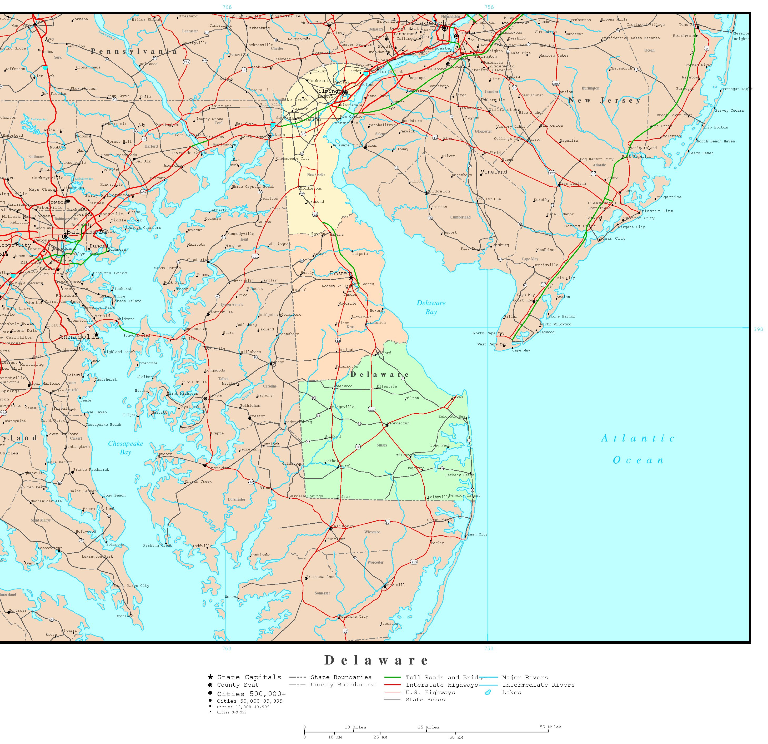 Delaware Political Map - Delaware us map