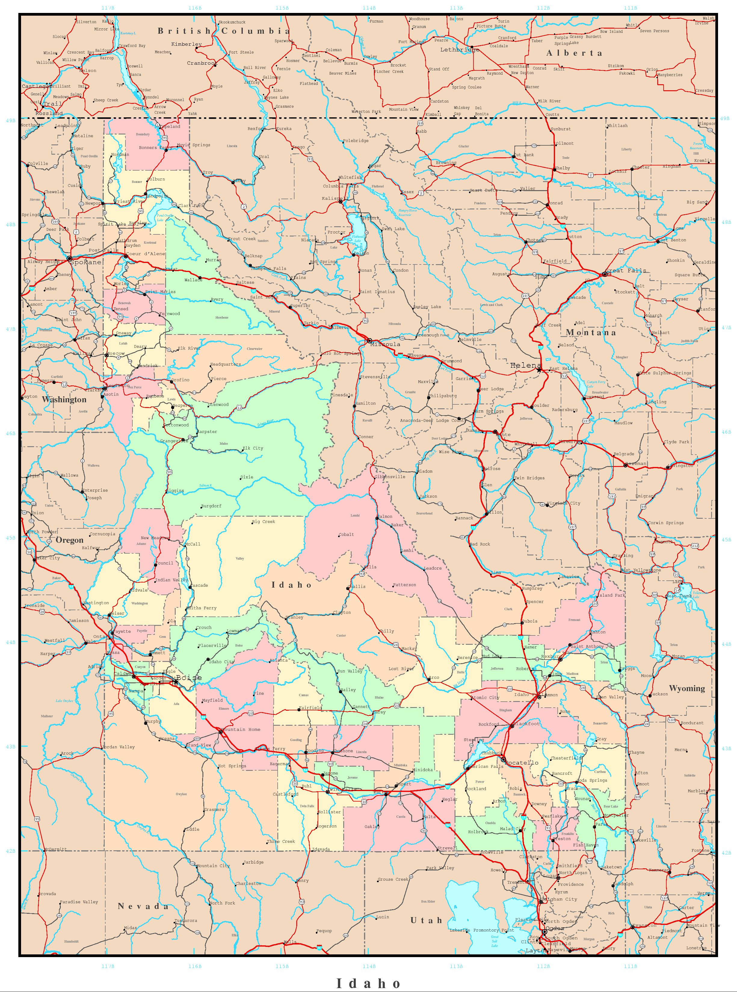 detailed map of montana with Idaho Political Map 384 on Idaho Political Map 384 additionally Utah further Kartor over usa together with Nuclear Fallout Maps additionally Delaware.
