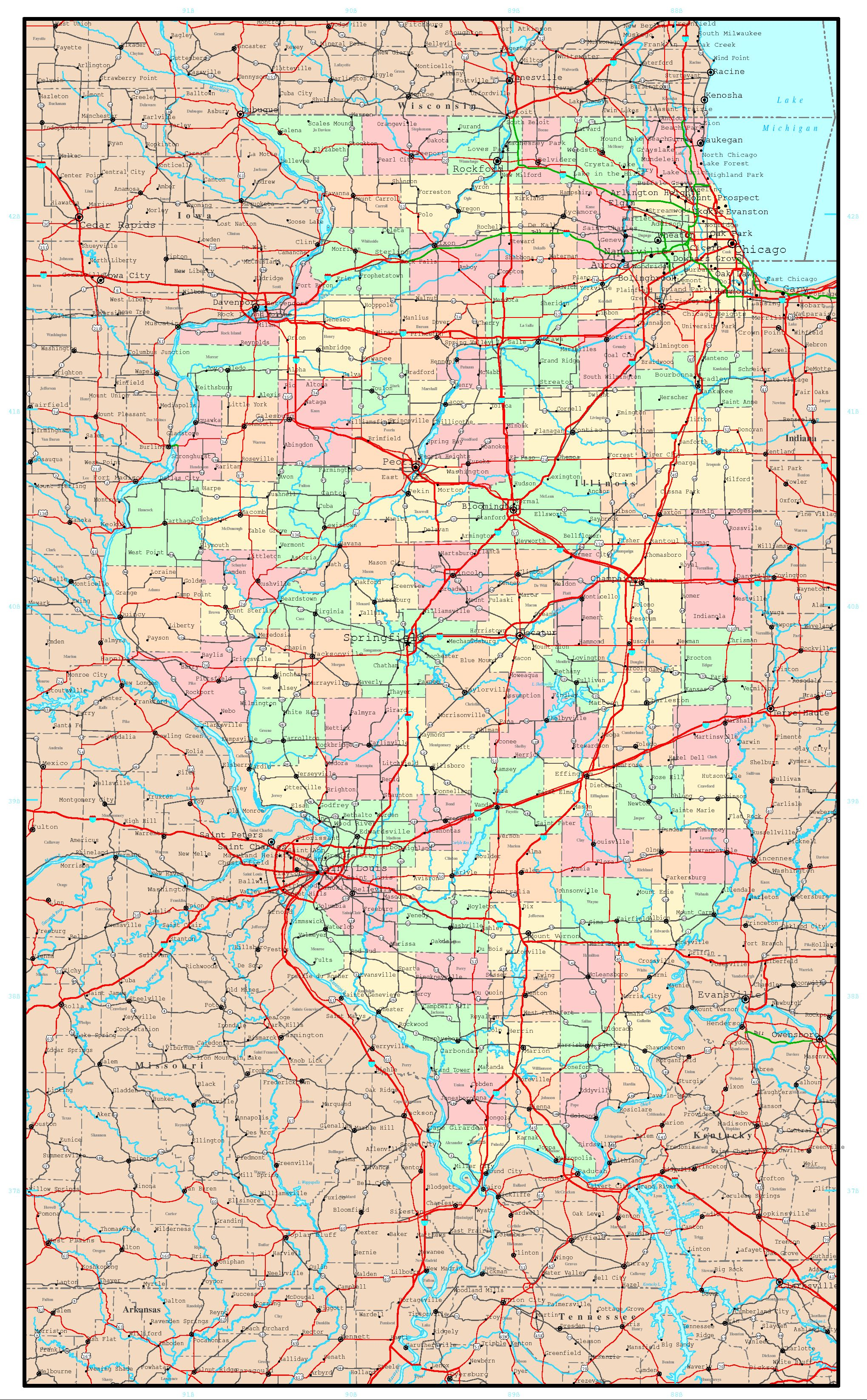 Illinois Political Map - Map of the state of illinois