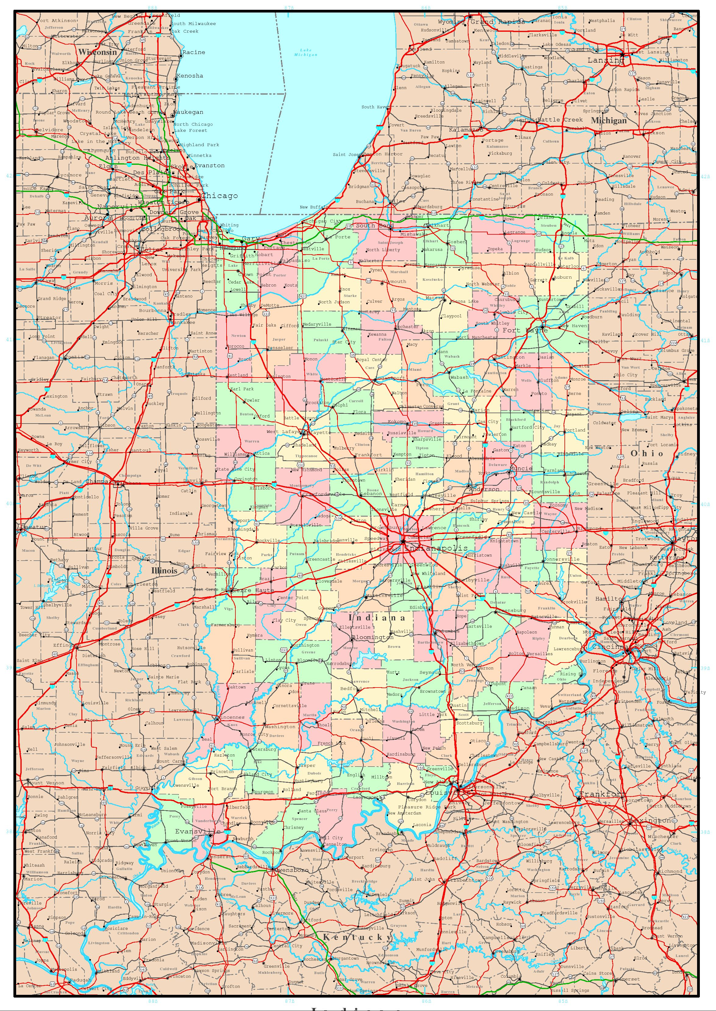Indiana Political Map - Map of indiana cities