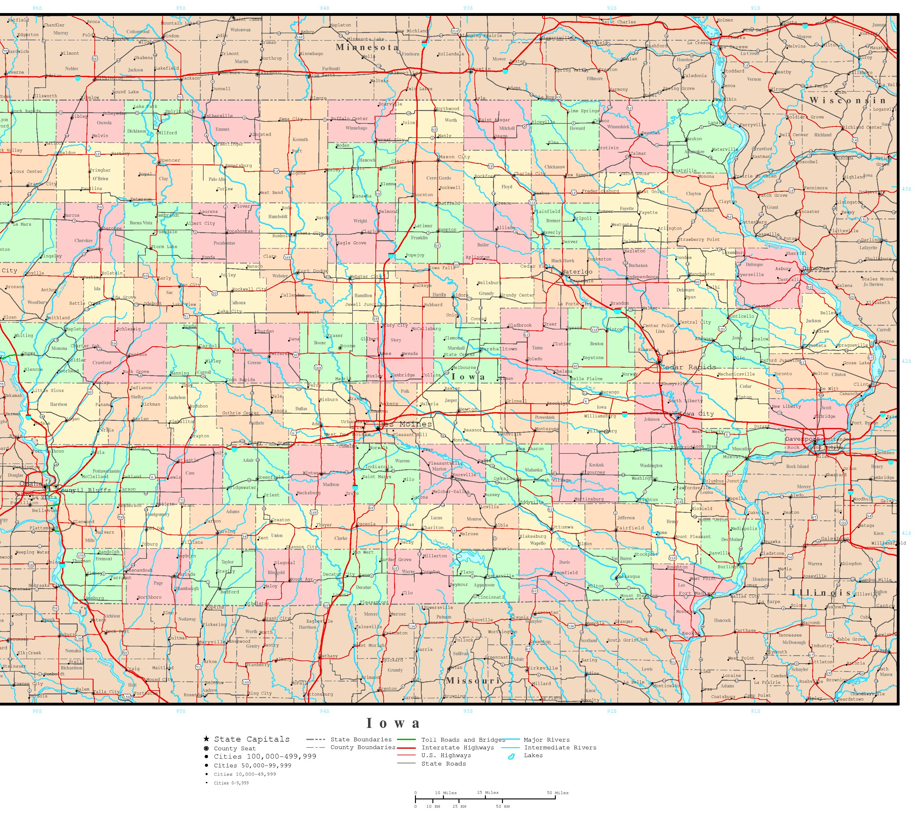 Iowa Political Map - Road map of iowa