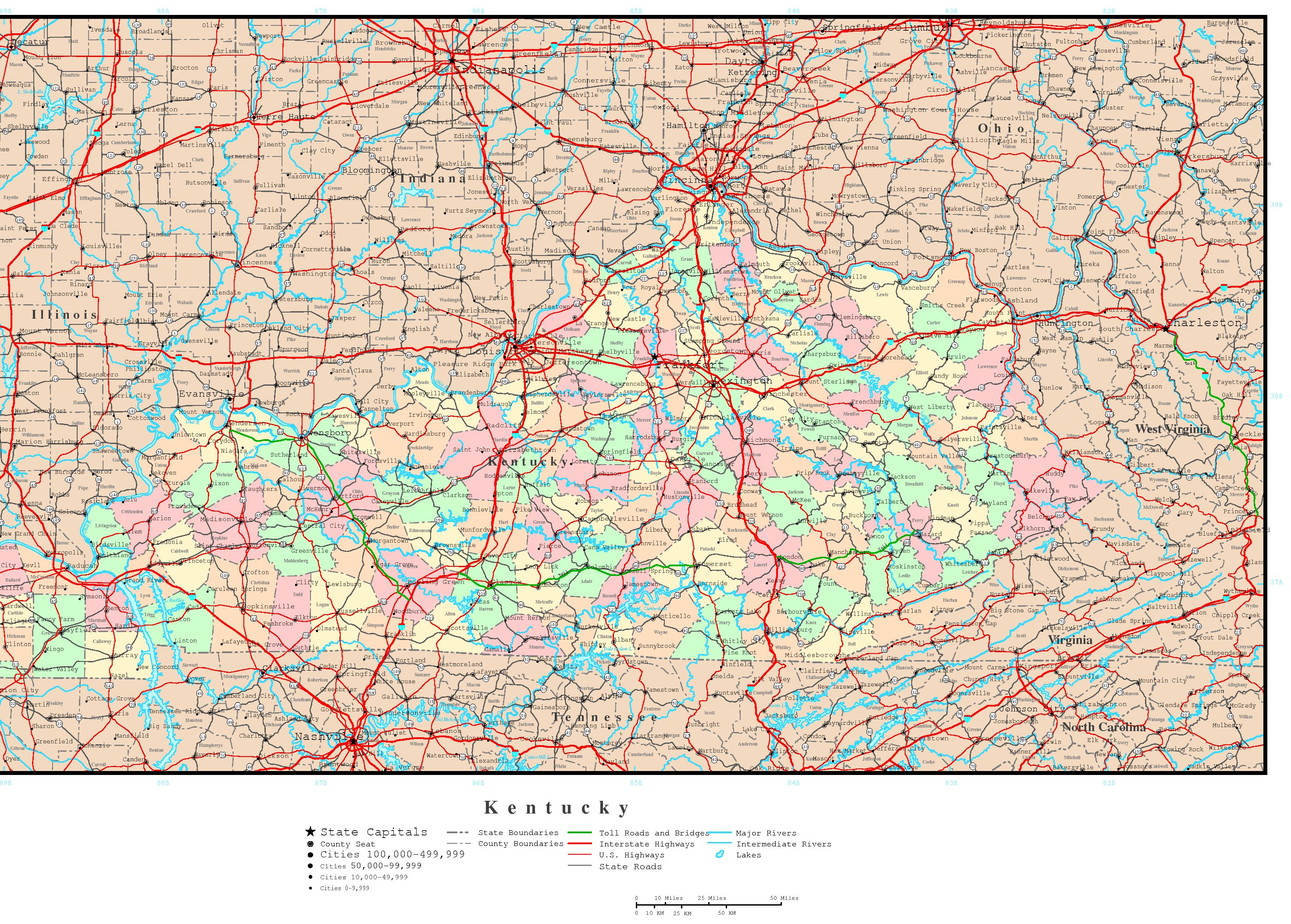 Kentucky Road Map Afputracom - Us map of kentucky