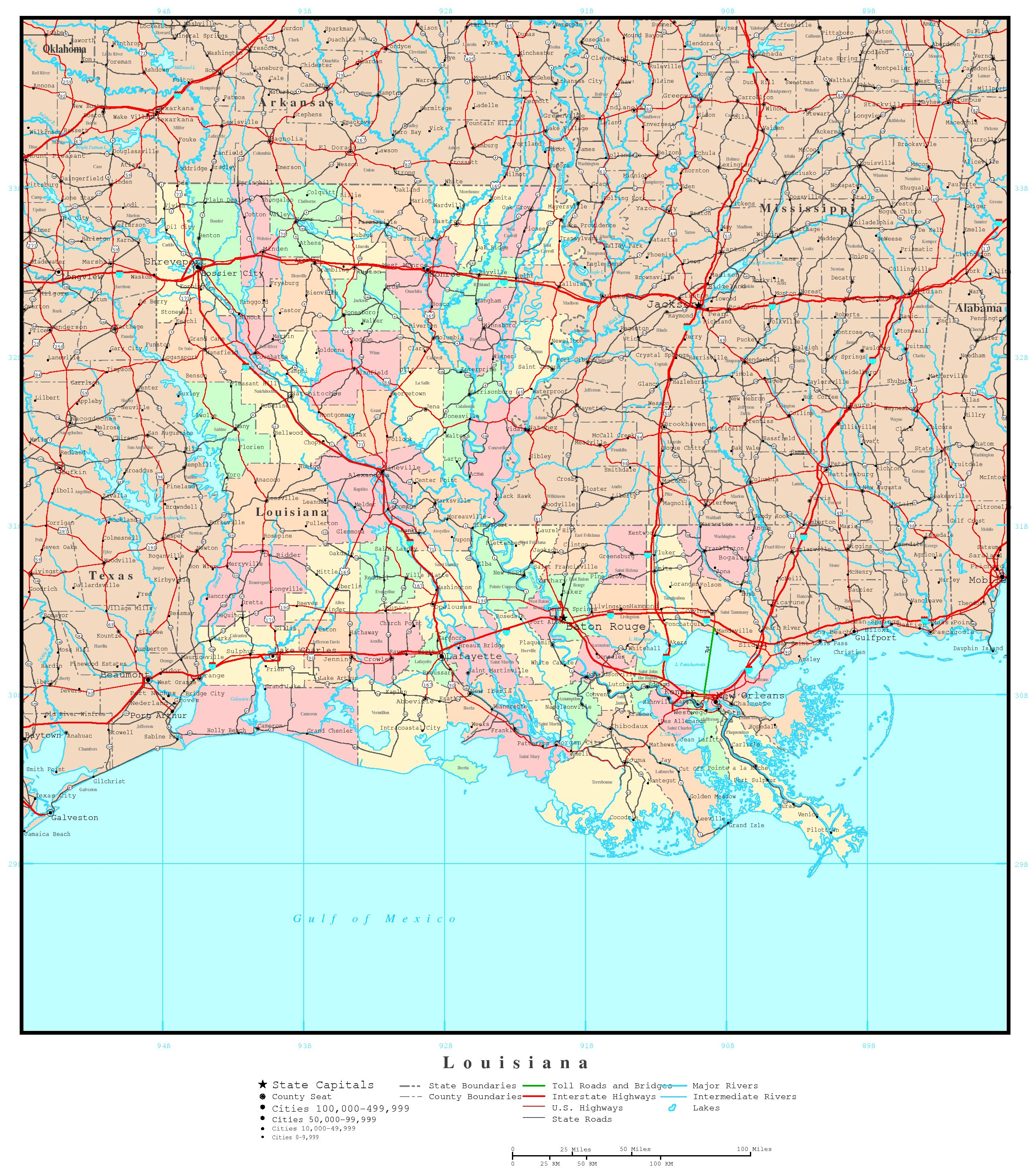 photo relating to Printable Map of Louisiana referred to as Louisiana Political Map