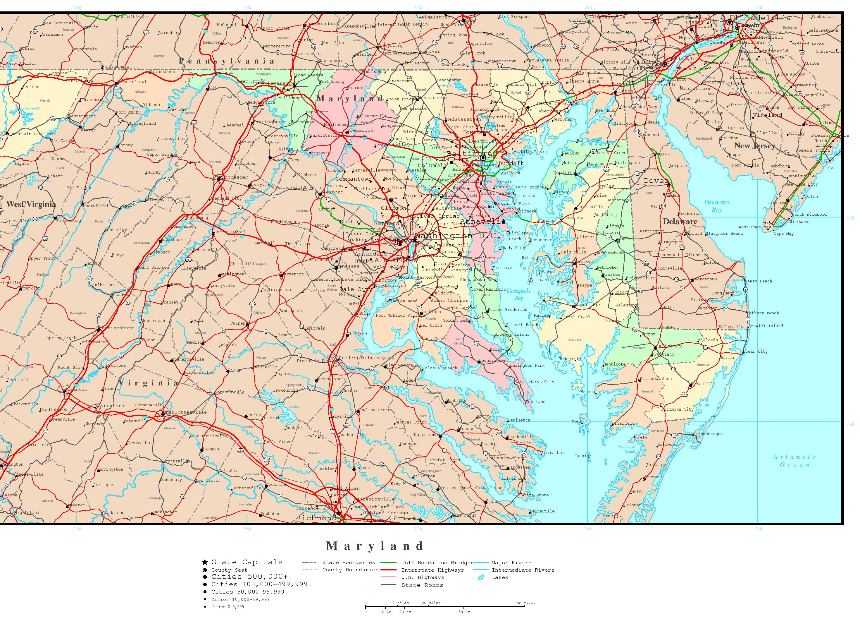 Maryland Political Map - High resolution us road map