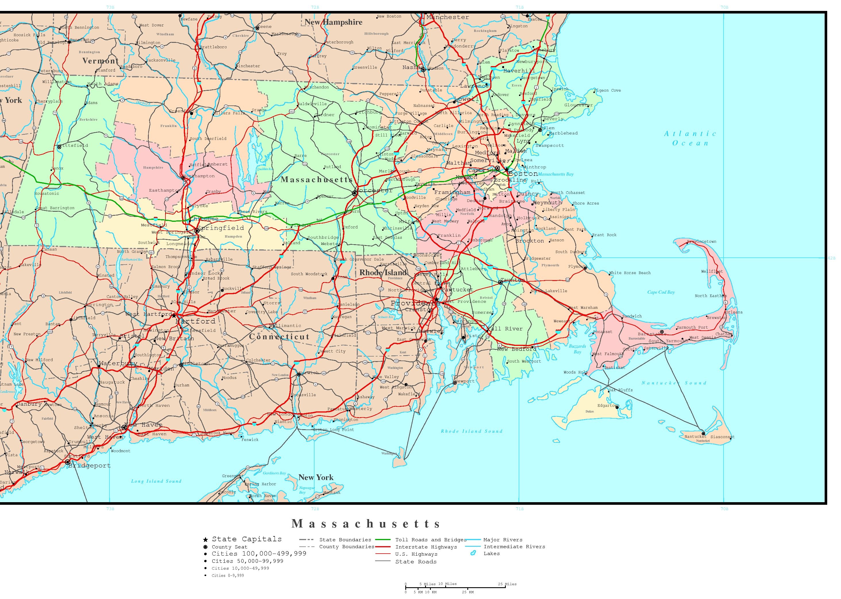Massachusetts Labeled Map - Massachusetts physical map