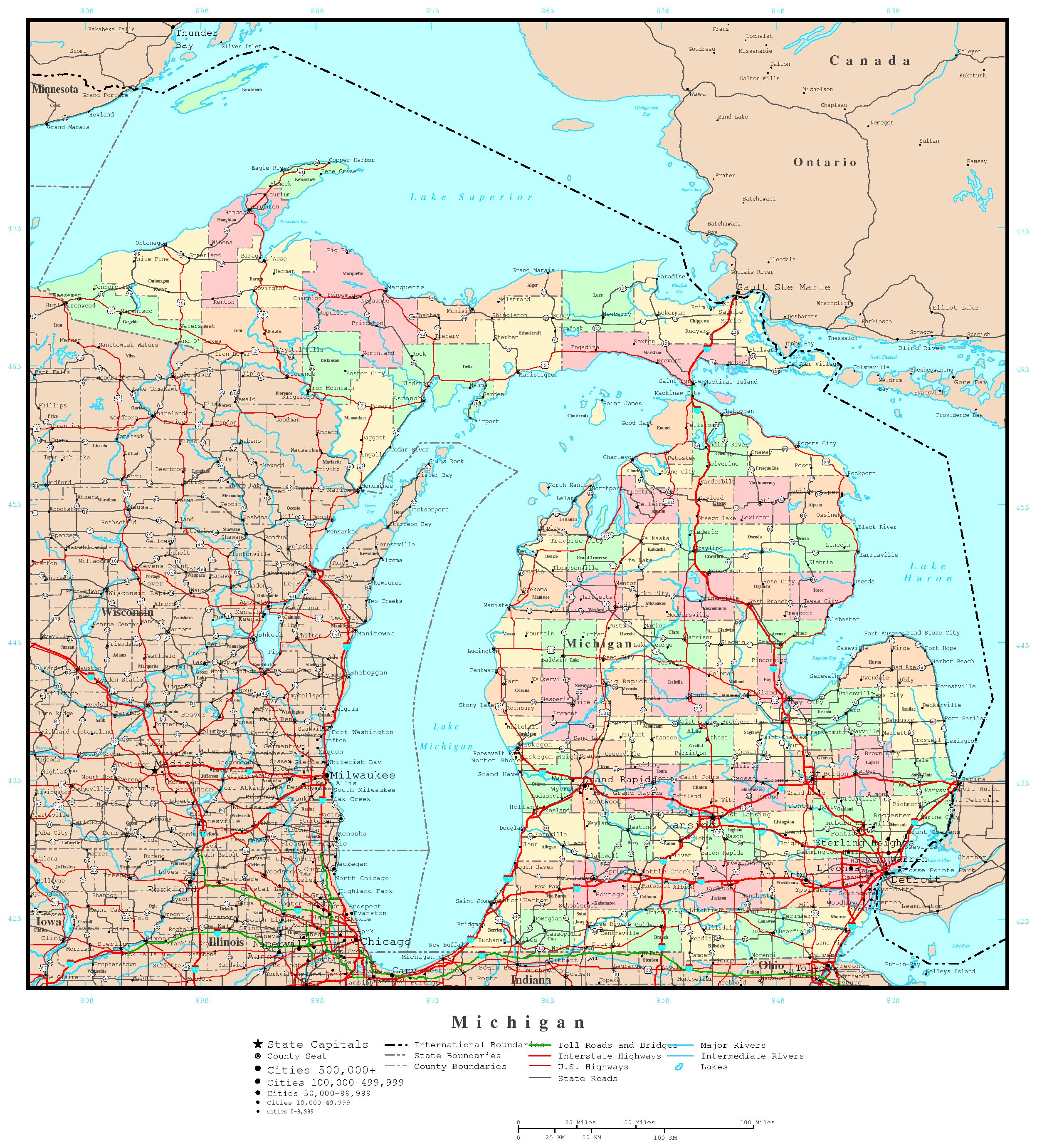 michigan political map. michigan elevation map