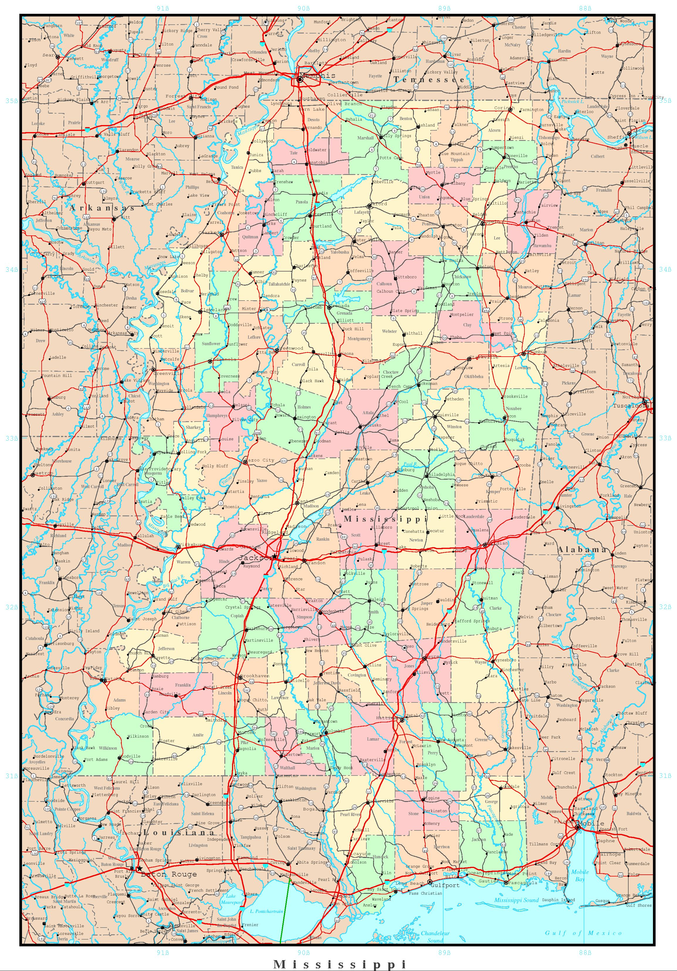 Mississippi Political Map - Missisippi map