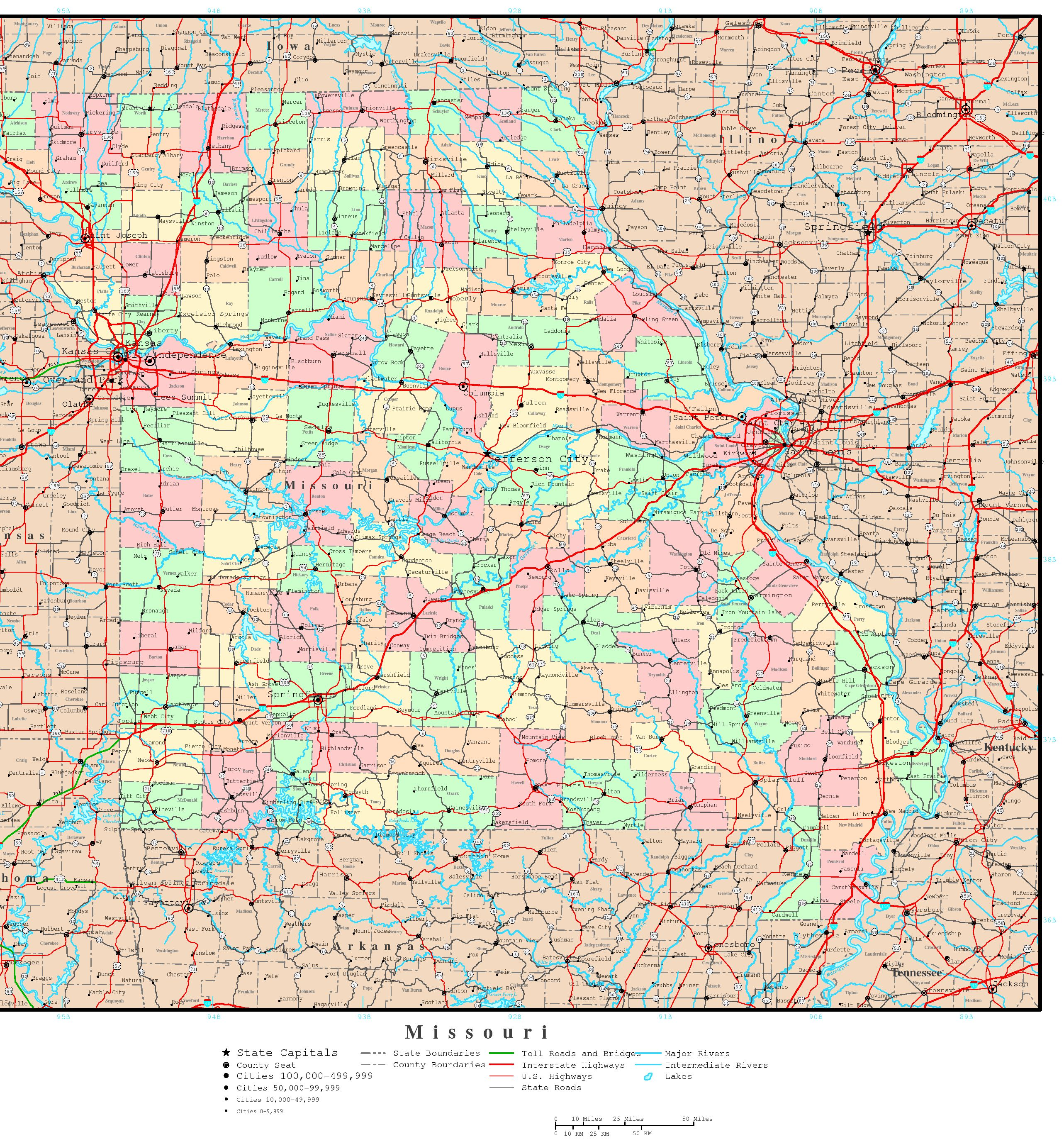 Missouri Political Map - Map of missiouri