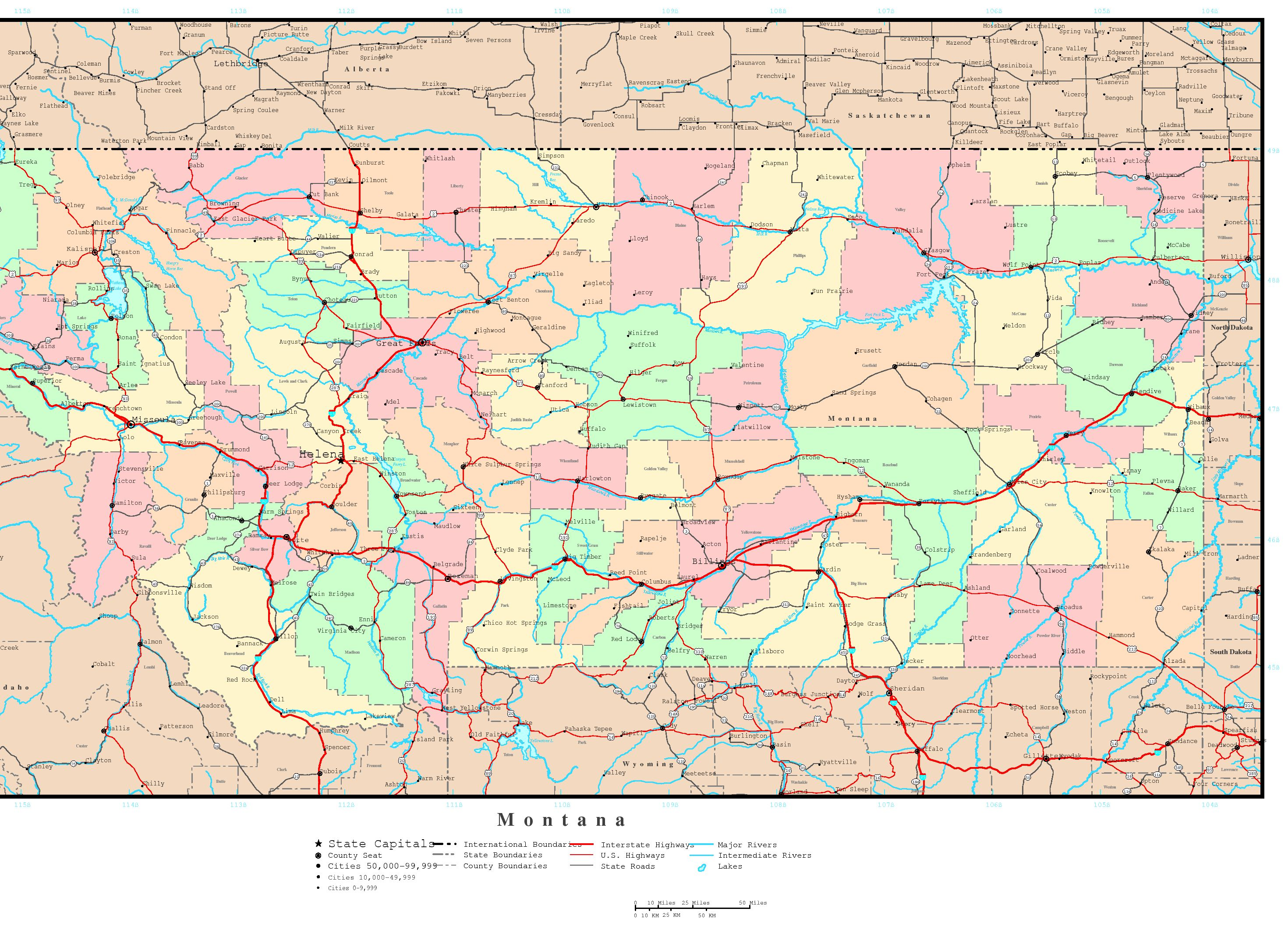 Montana Political Map - Map of montana with cities