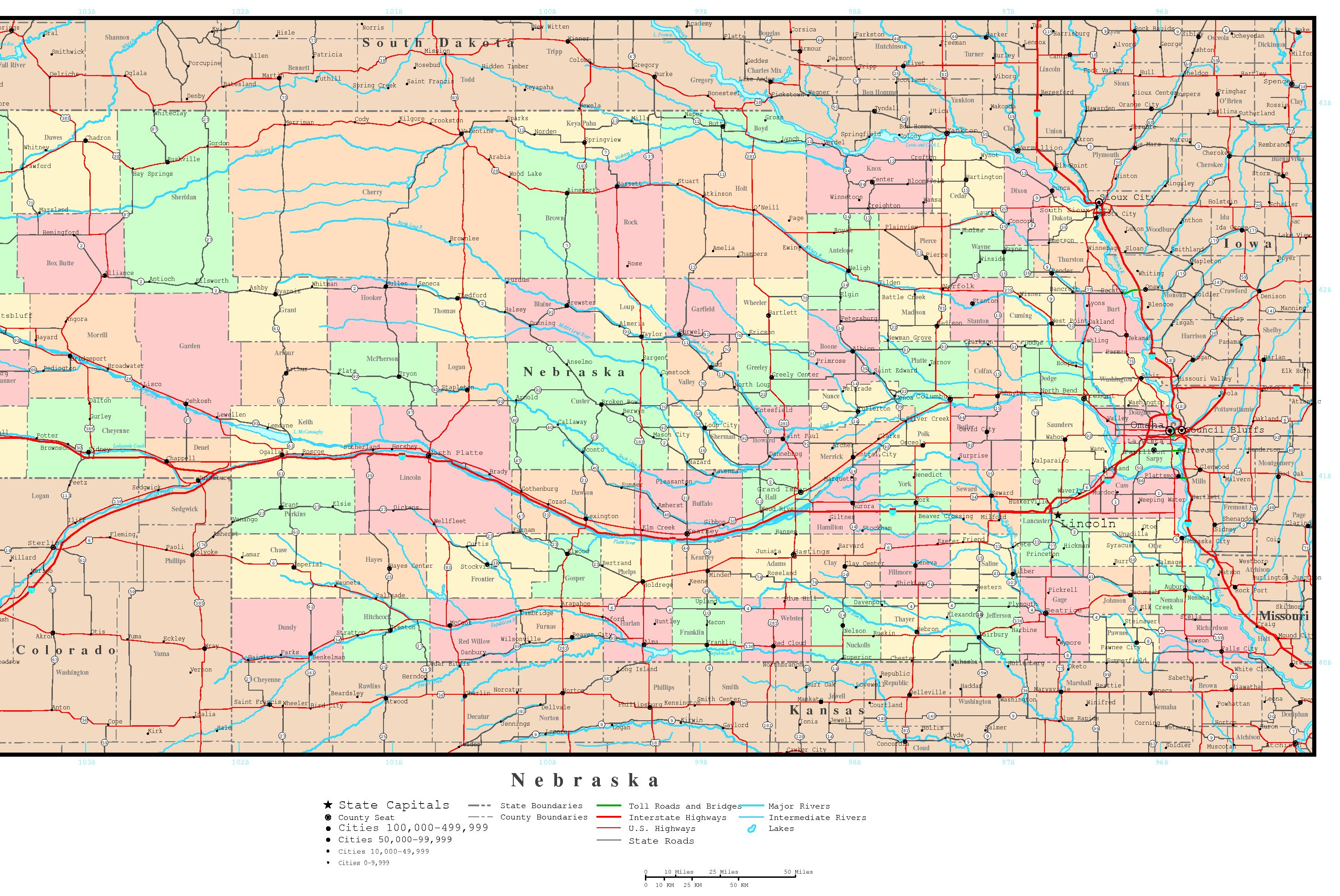 Nebraska Political Map - Nebraska on us map
